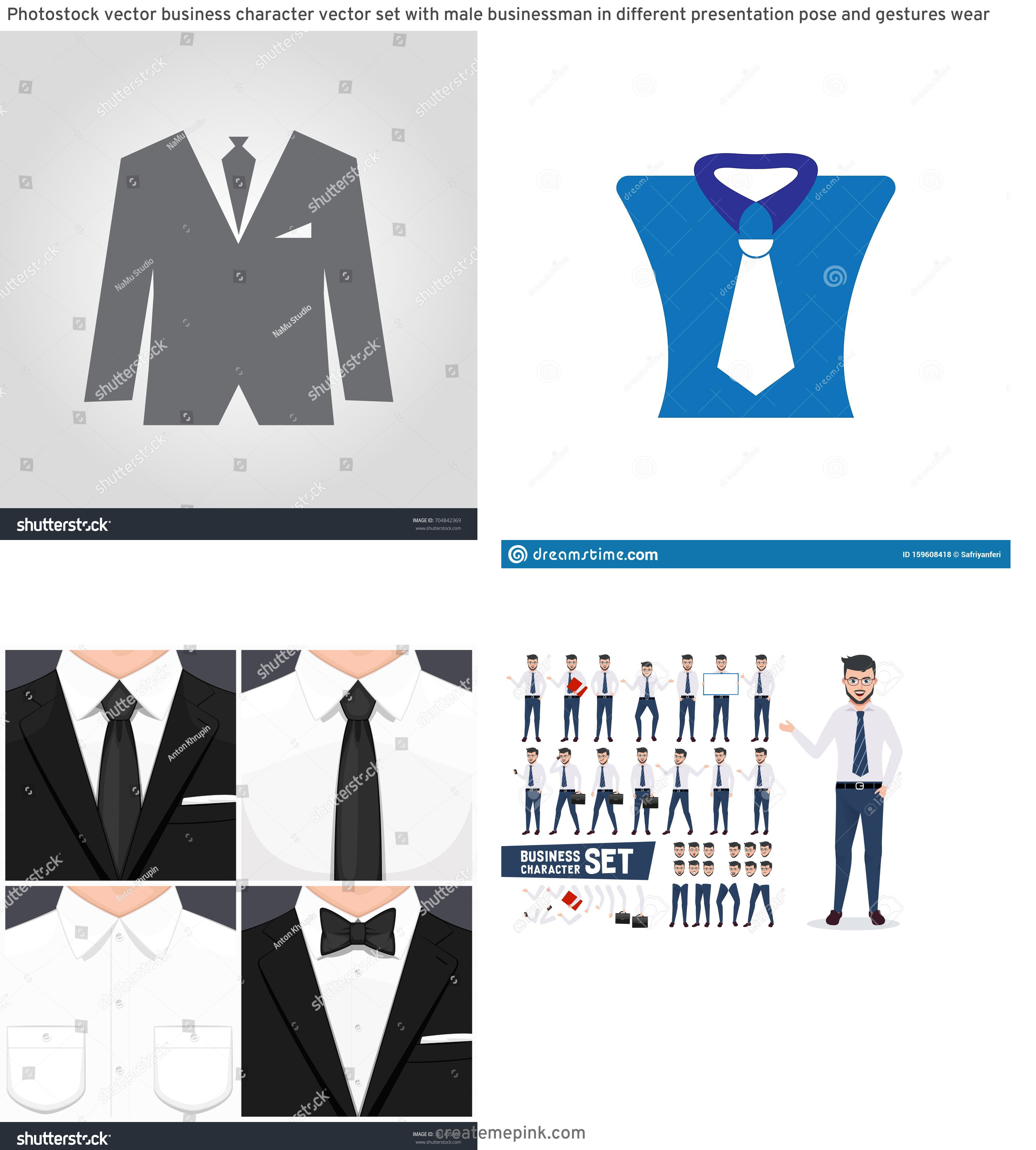 Vector Business Attire: Photostock Vector Business Character Vector Set With Male Businessman In Different Presentation Pose And Gestures Wear