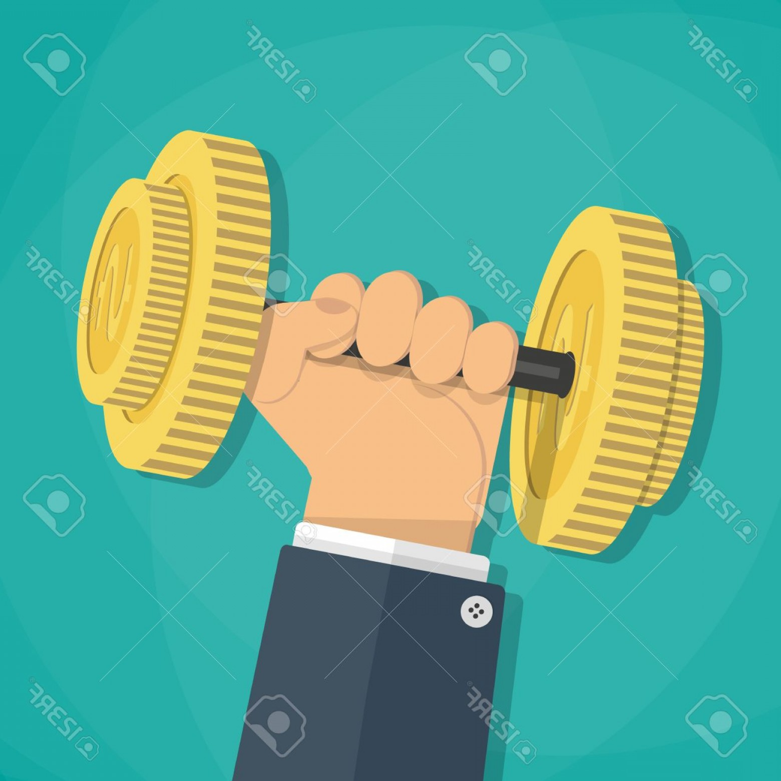 Bumper Barbell Vector: Photostock Vector Business Executive Power Lifting Barbell Made Of Golden Coin Business Financial Strength And Financi