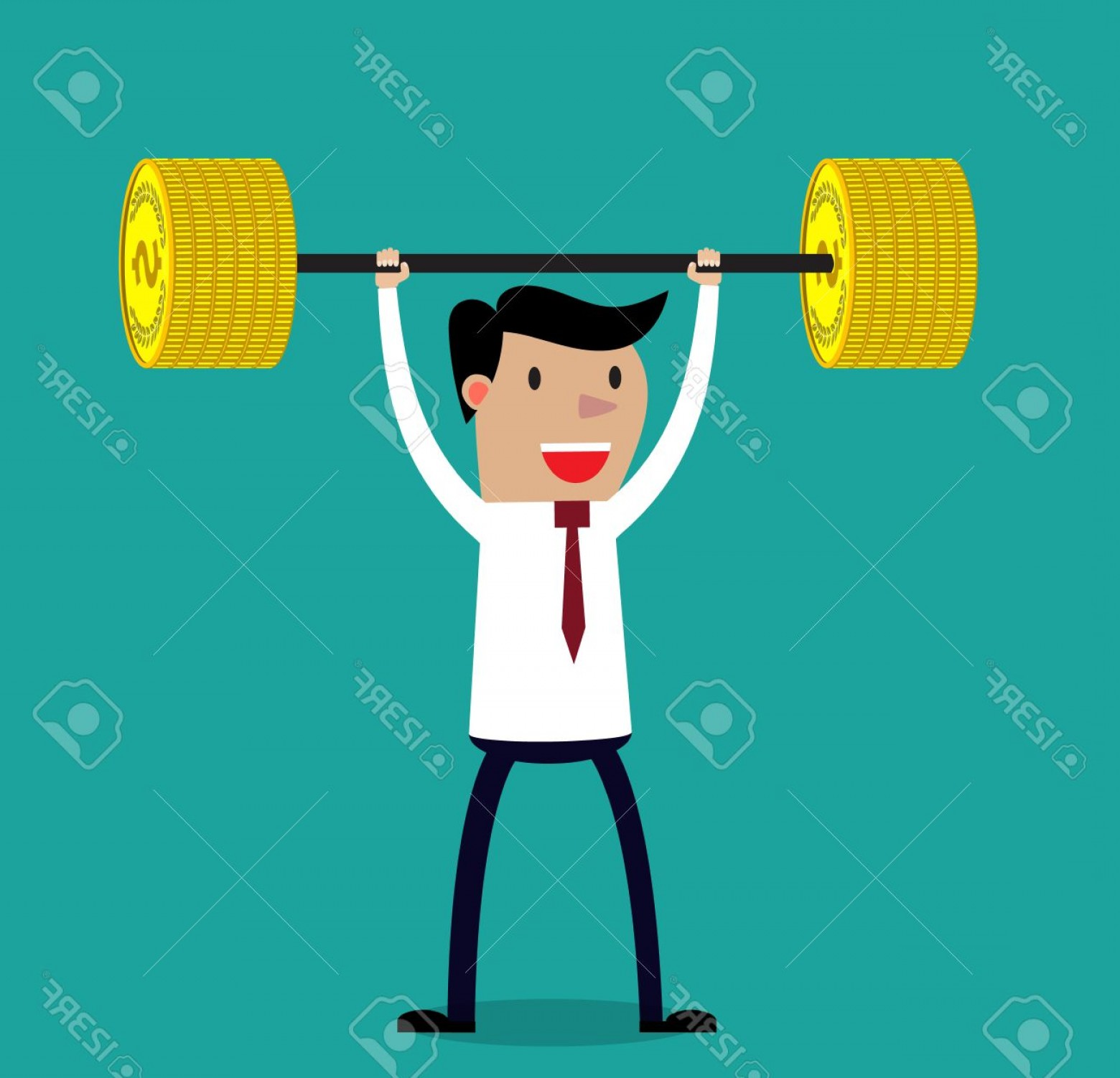 Bumper Barbell Vector: Photostock Vector Business Executive Power Lifting Barbell Made Of Golden Coin Vector Illustration For Business Financ
