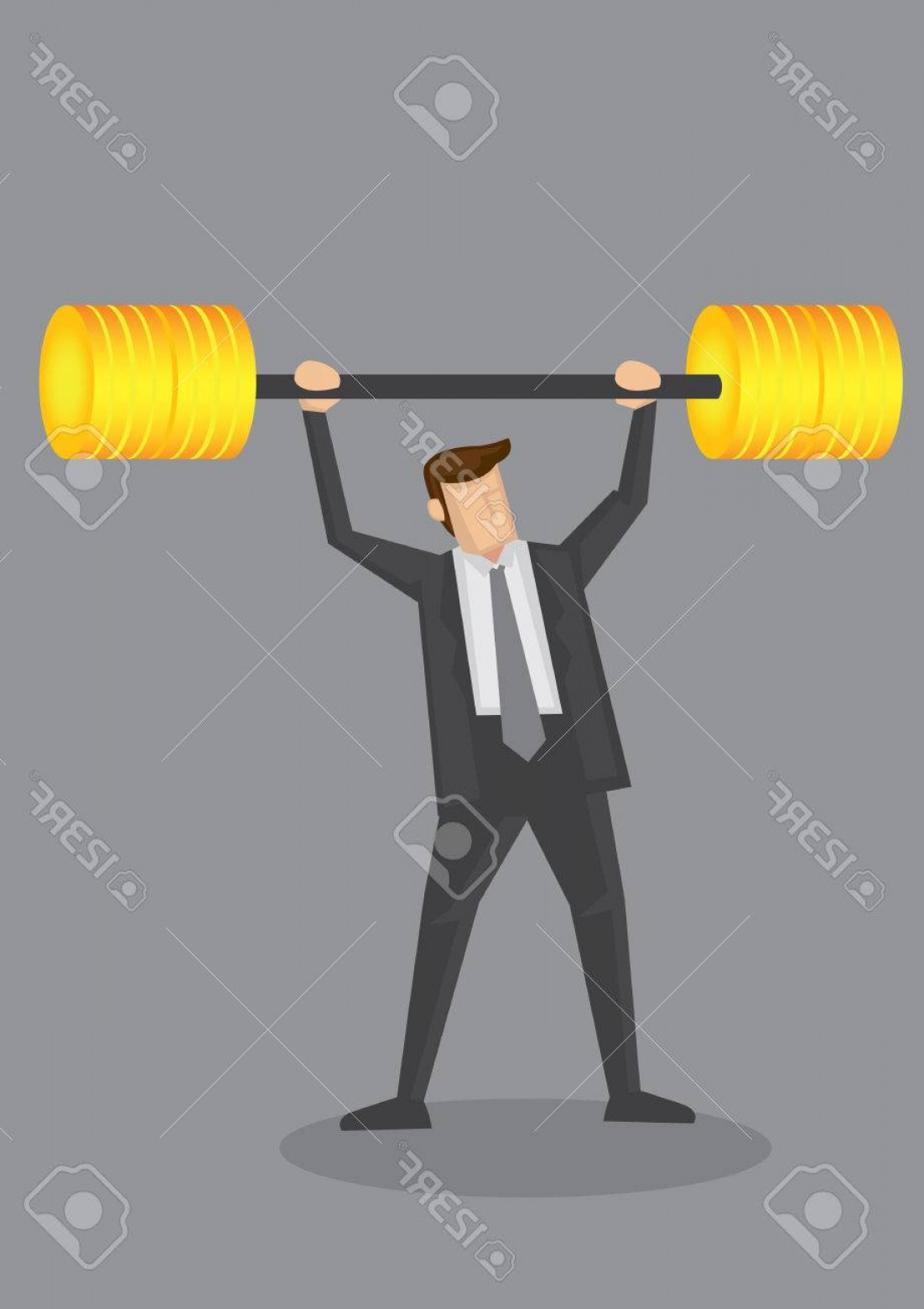 Bumper Barbell Vector: Photostock Vector Business Executive Powerlifting Barbell Made Of Golden Bumper Plates Discs Vector Illustration For B