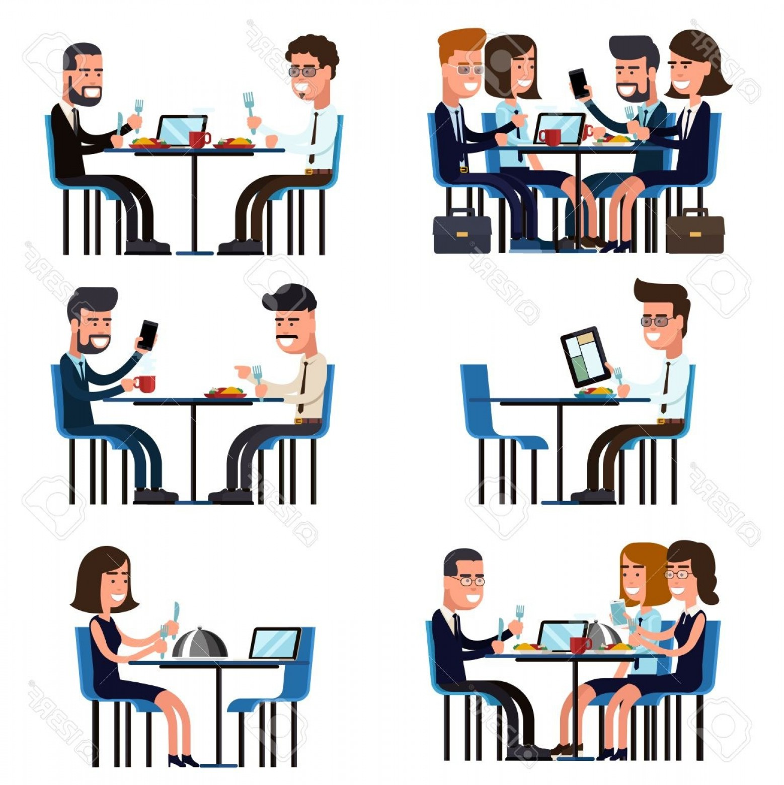 Business Lunch Clip Art Vector: Photostock Vector Business Lunch Break Food And Meeting People Colleague Sitting Vector Illustration
