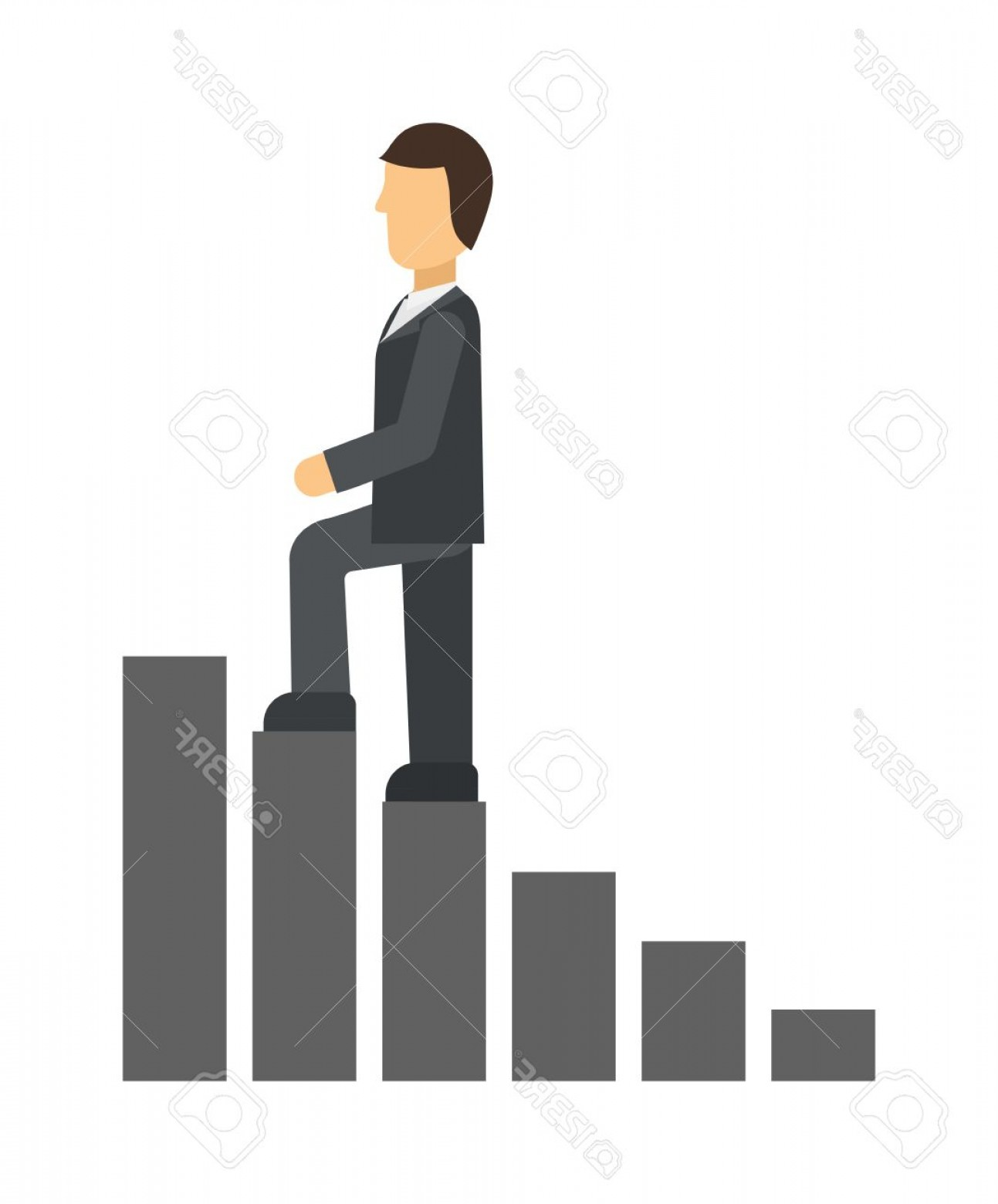Vector Career Ladder: Photostock Vector Business Man Climbing Up On Hand Drawn Staircase Concept Business Success Progress Up Step Career La