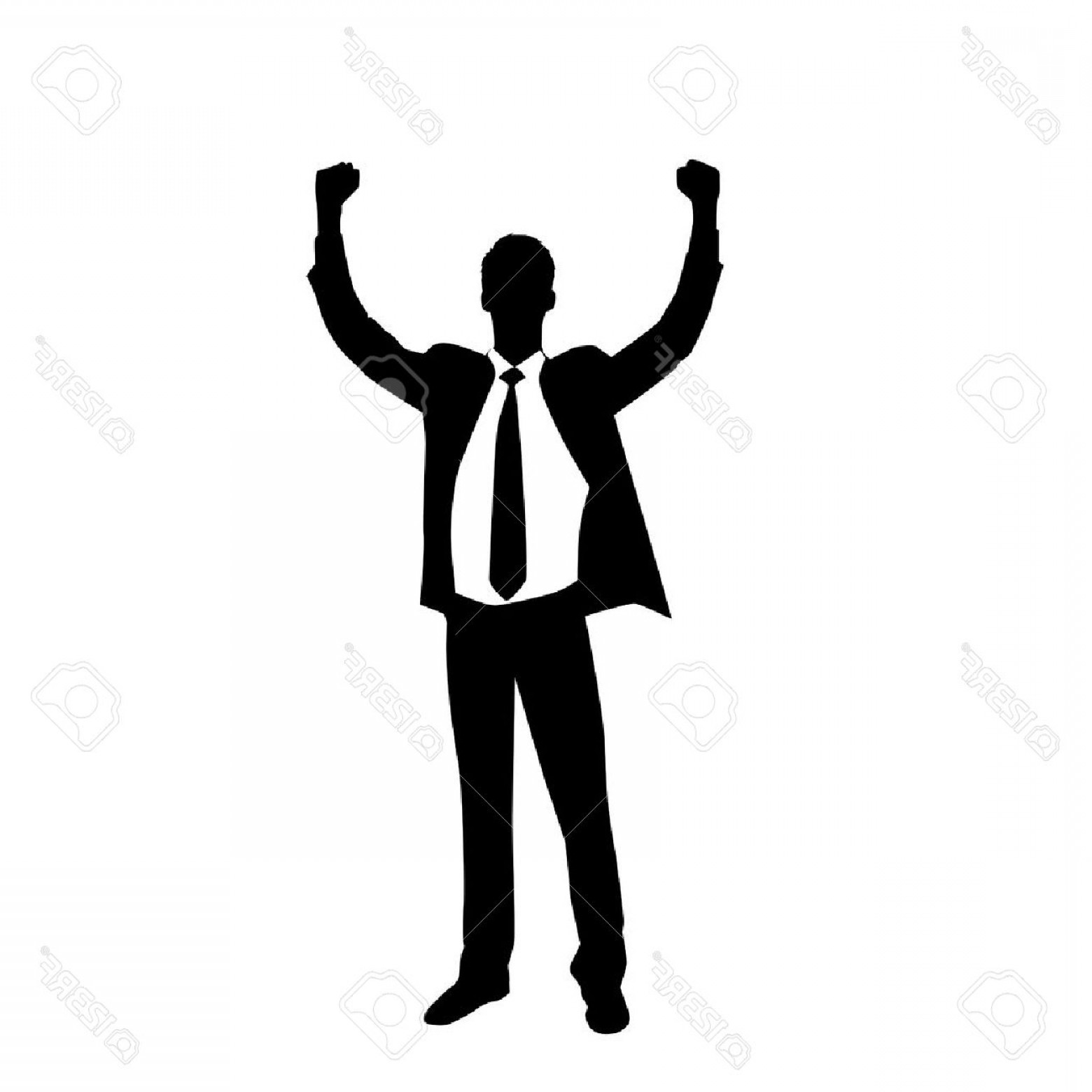 Holding Hands Up Silhouette Vector: Photostock Vector Business Man Silhouette Excited Hold Hands Up