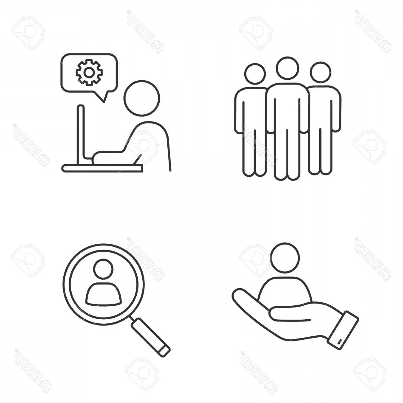 Support Staff Vector: Photostock Vector Business Management Linear Icons Set Team Technical Support Staff Searching Hr Management Thin Line