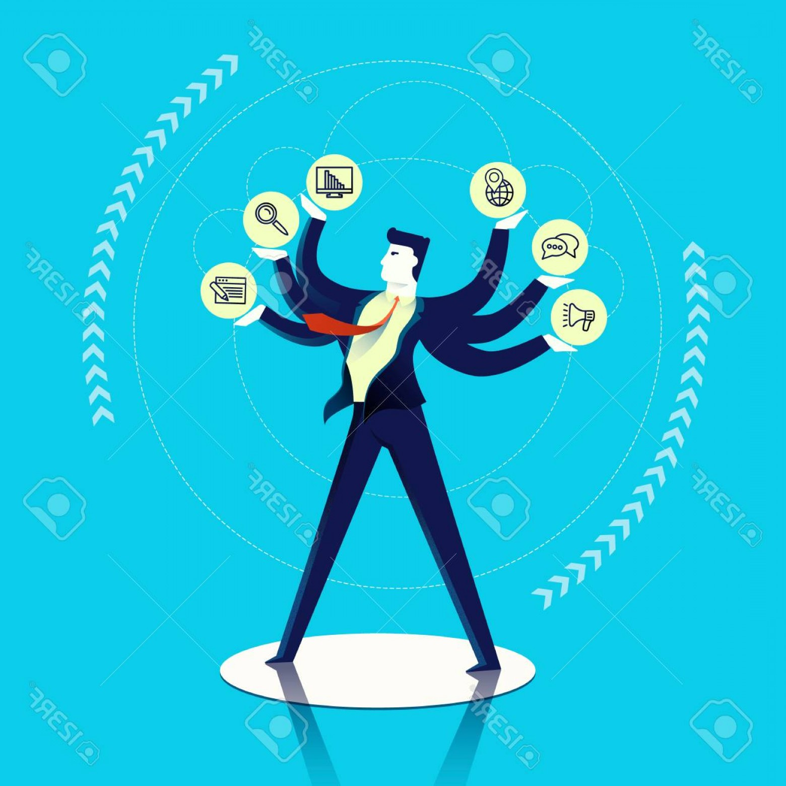 Vector Executive: Photostock Vector Business Multitask Concept Illustration Executive Man Juggling Different Work Skills As Outline Icon