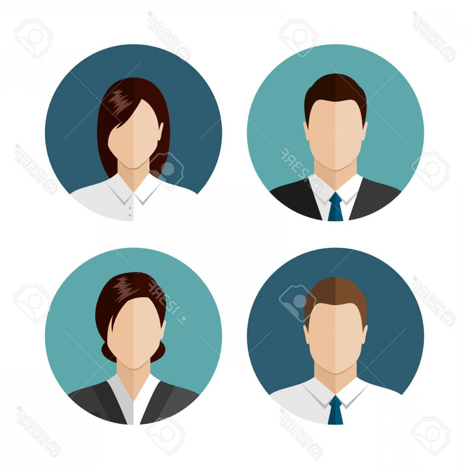 Free Vector Business People Icon: Photostock Vector Business People Icons Isolated On White Background Circle Avatar Collection Modern Flat Style Design