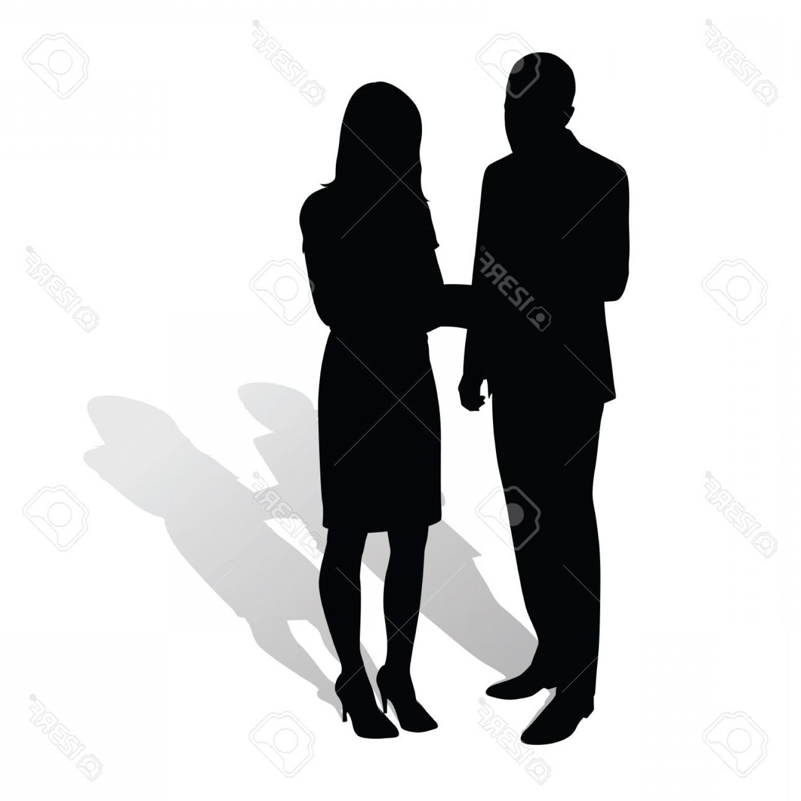 Silhouette Hee High Vector Lsitleetios: Photostock Vector Business People Man Talking To Woman Vector Silhouettes With Shadow Businessmen In Formal Wear Man I
