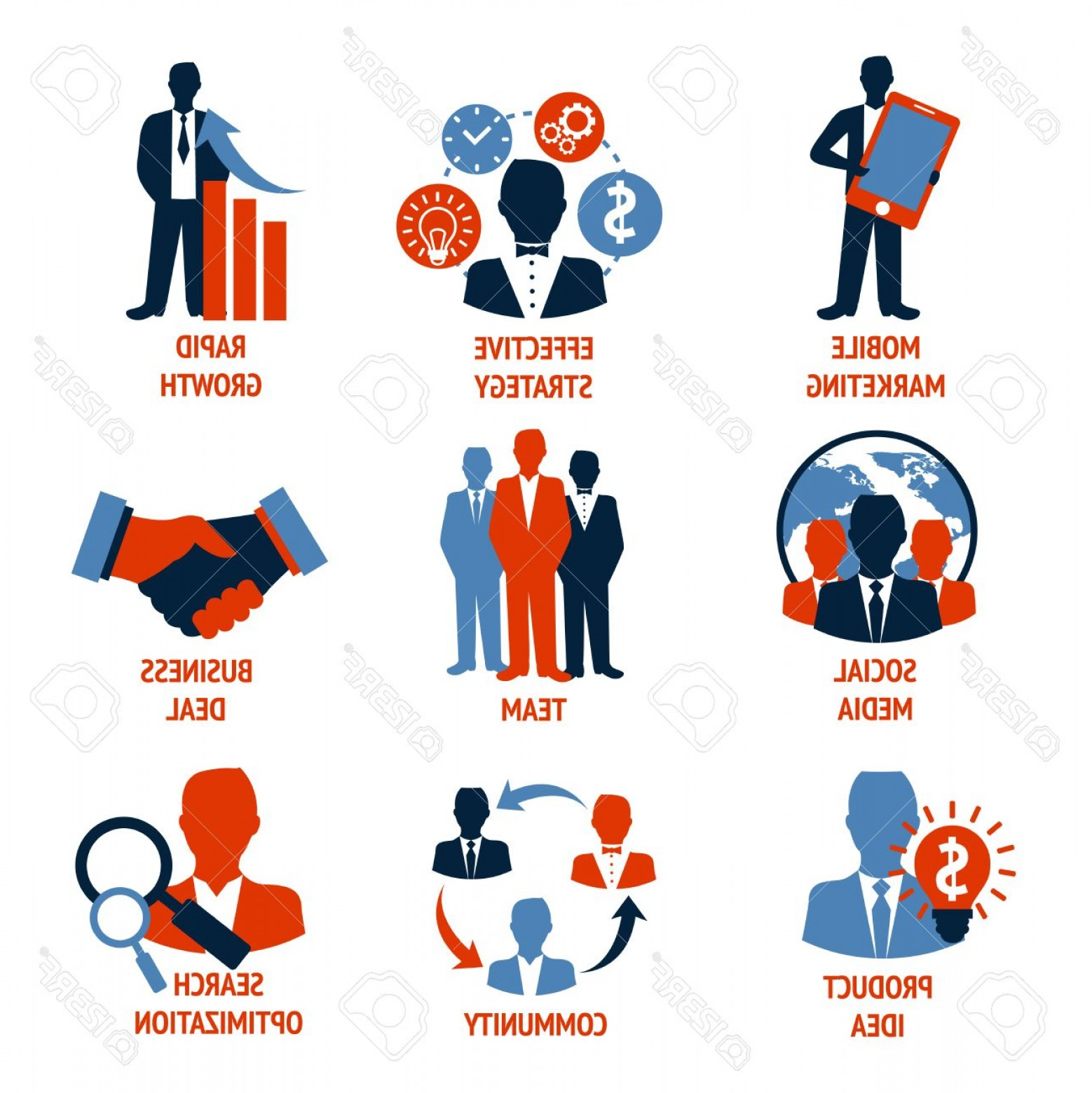 Growth Vector People: Photostock Vector Business People Meeting Managements Icons Set Of Mobile Marketing Effective Strategy Rapid Growth Is