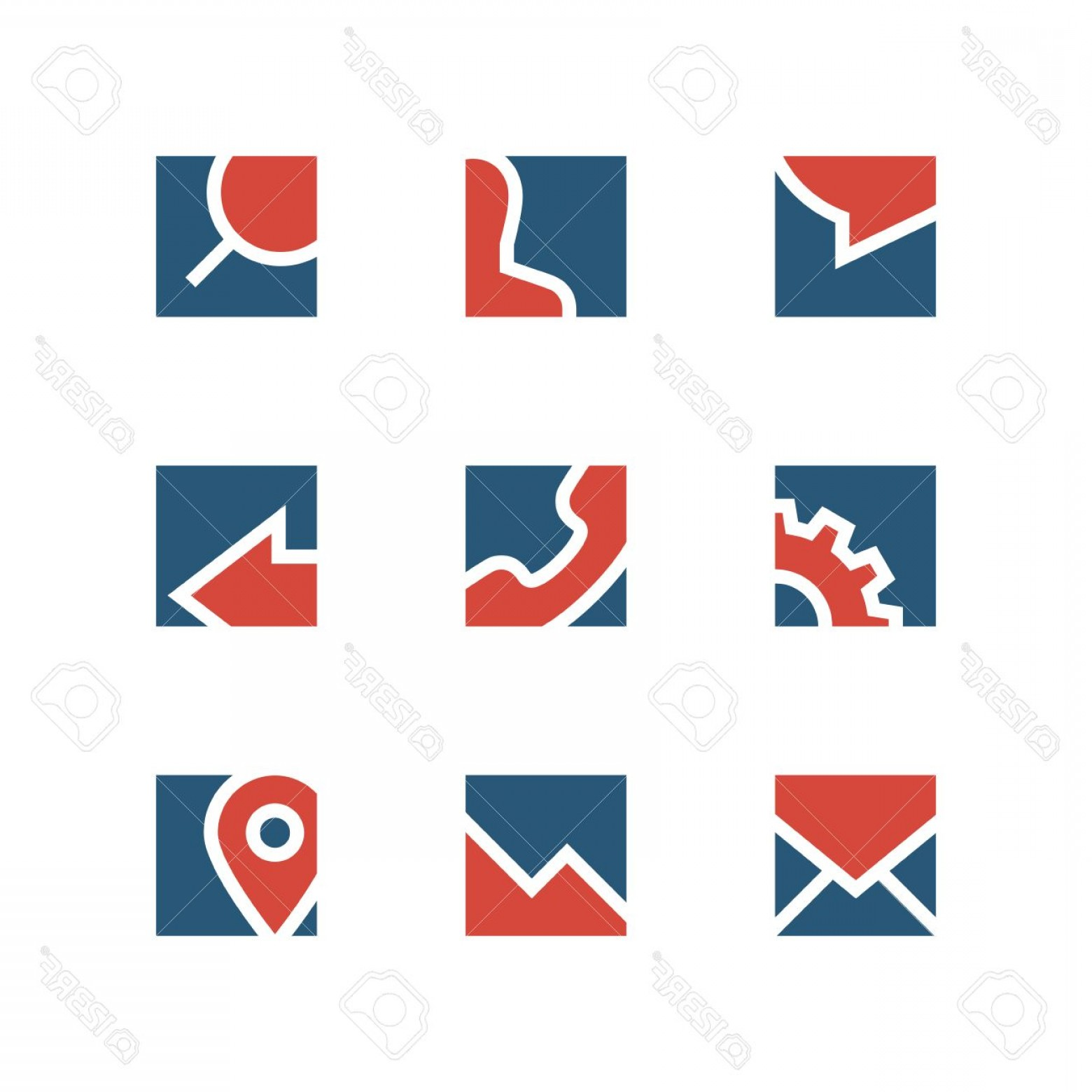 Simple Vector Logo: Photostock Vector Business Simple Vector Logo Set Chat Man Search Gear Phone Arrow Mail Address And Graph