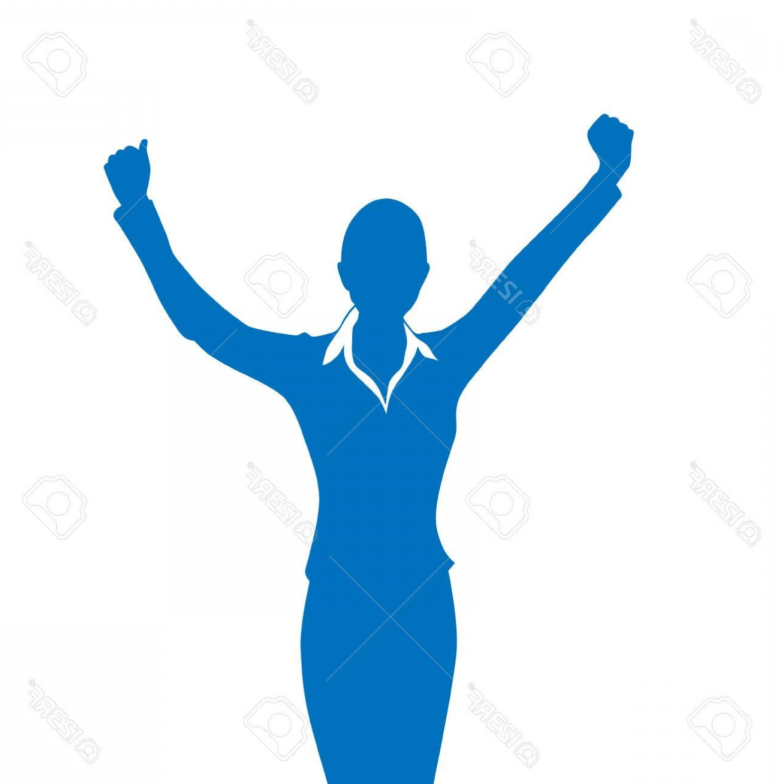 Holding Hands Up Silhouette Vector: Photostock Vector Business Woman Silhouette Excited Hold Hands Up Raised Arms