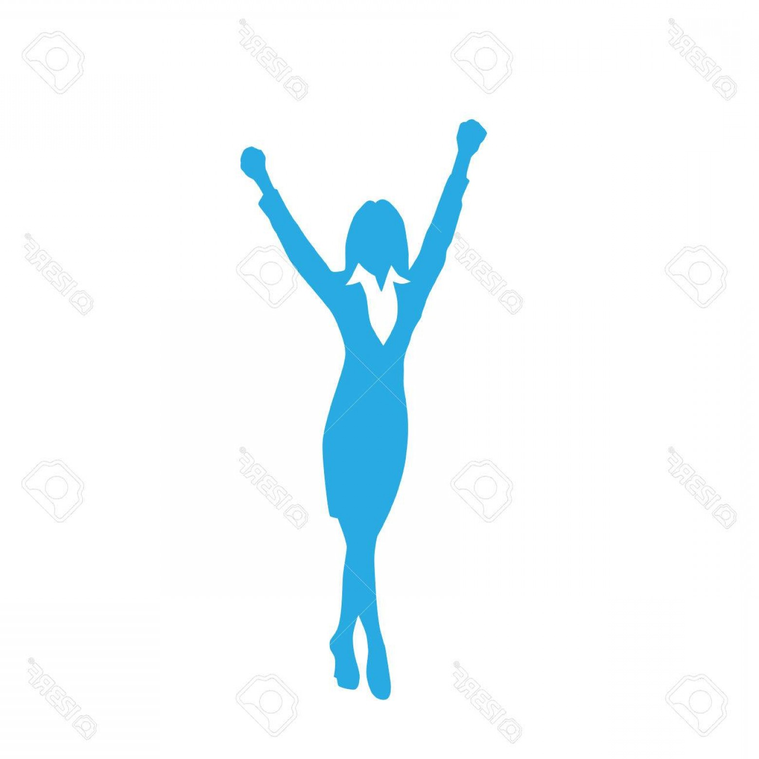 Holding Hands Up Silhouette Vector: Photostock Vector Business Woman Silhouette Excited Hold Hands Up
