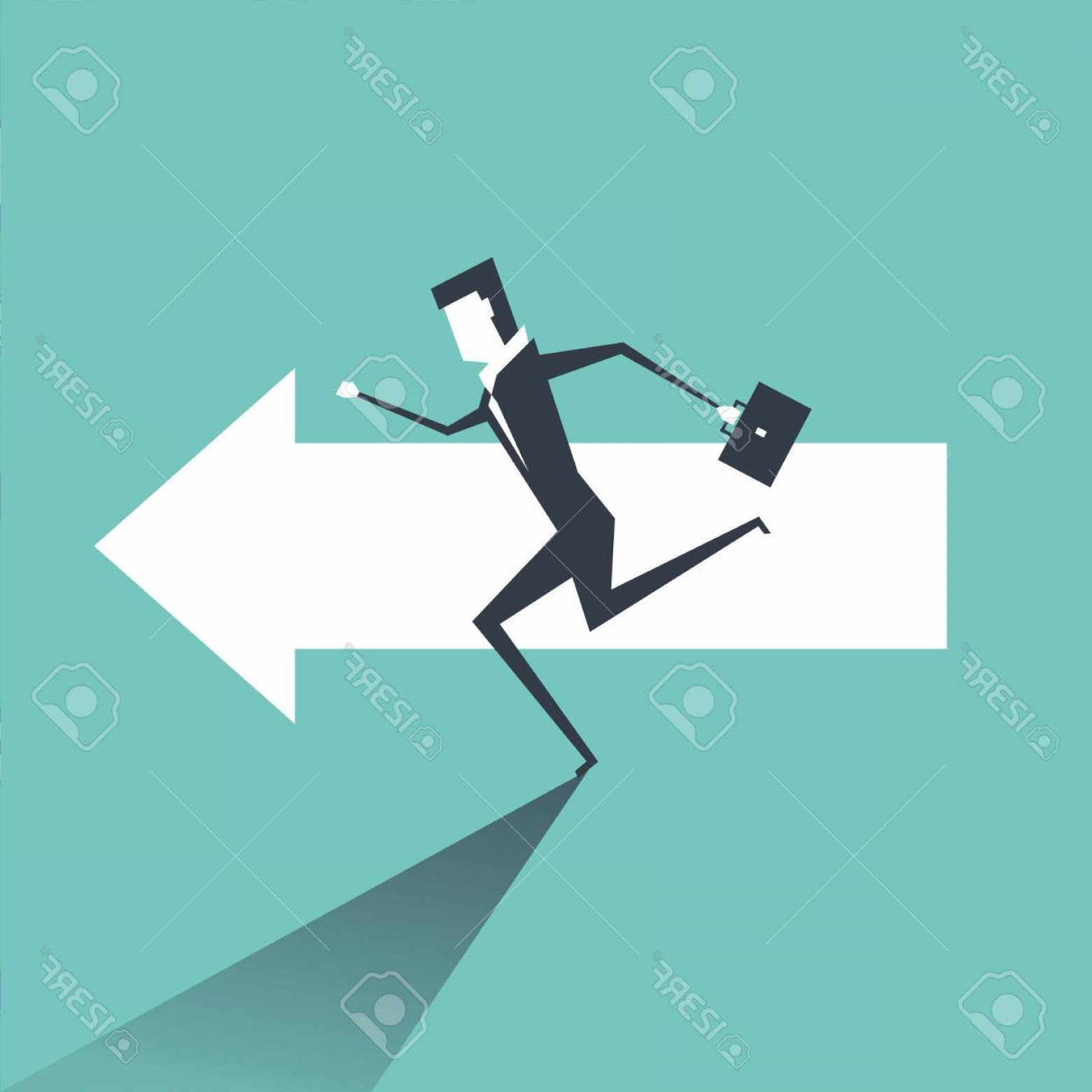 Vector Professional Goal: Photostock Vector Businessman Running On The Arrows Towards The Goal Of Professional Success
