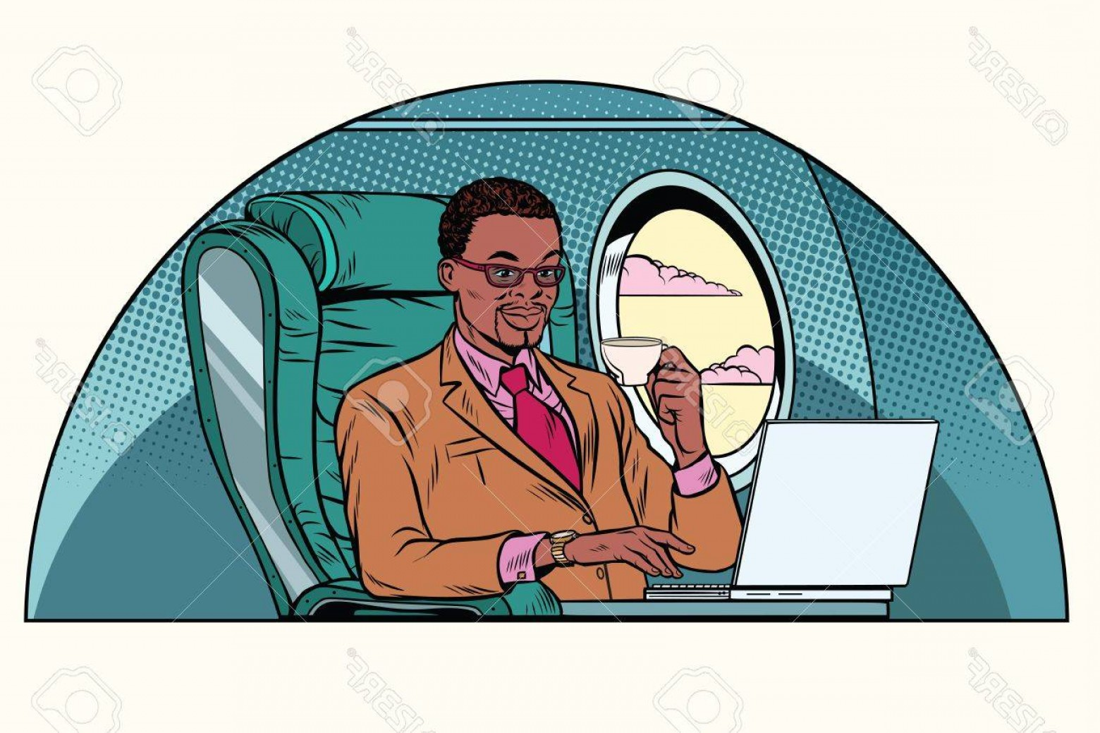 Vector Man Working In Cabin: Photostock Vector Businessman Working In The Business Class Cabin African American People Aviation And Travel Pop Art