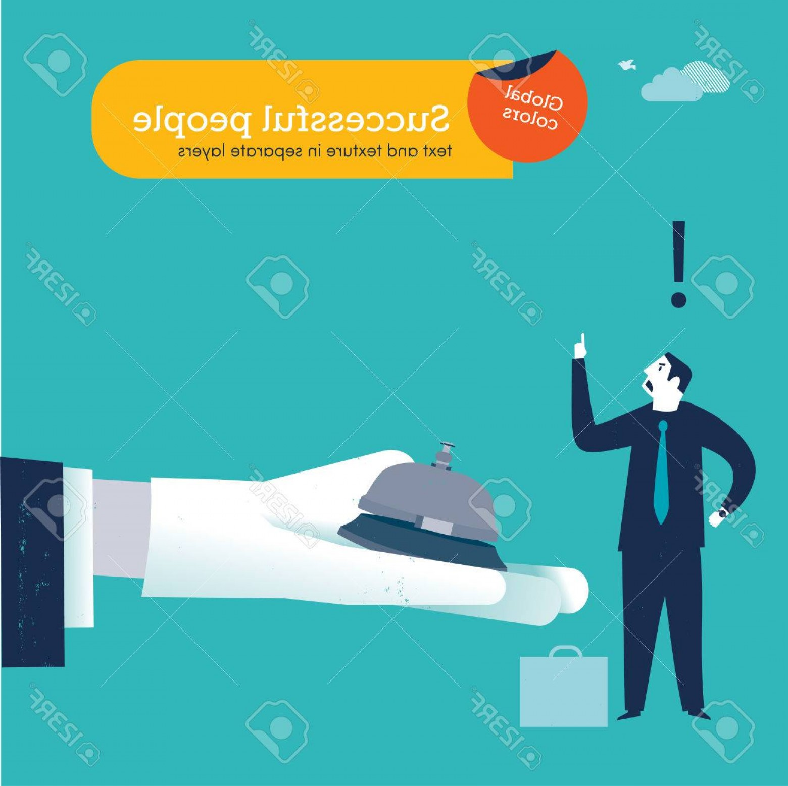 White Glove Service Vector: Photostock Vector Businessmen Ringing A Service Bell On Hand With White Glove Vector Illustration Eps File Global Co