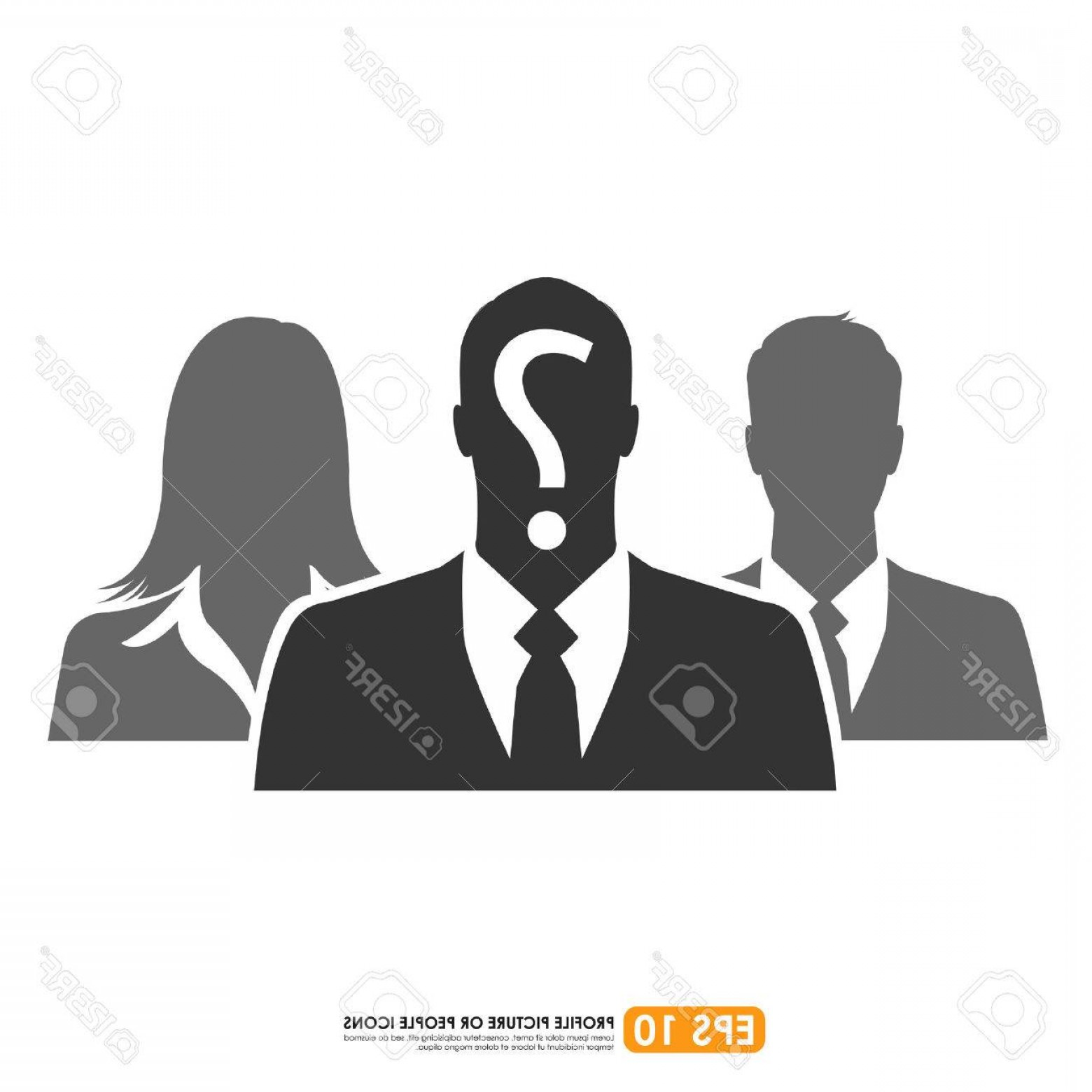 Free Vector Business People Icon: Photostock Vector Businesspeople Icon With Question Mark Sign