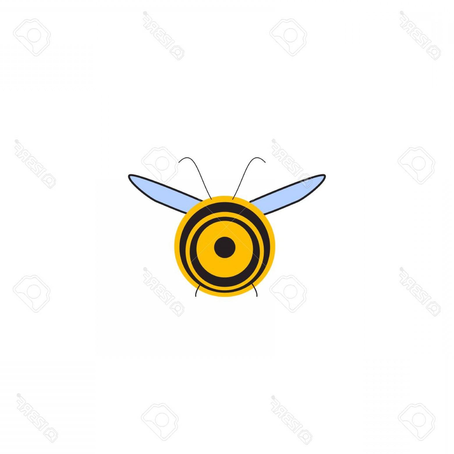 Bee Stinger Back Vector Art: Photostock Vector Busy Bee Abstract Flying Honey Bee Back View Vector Illustration