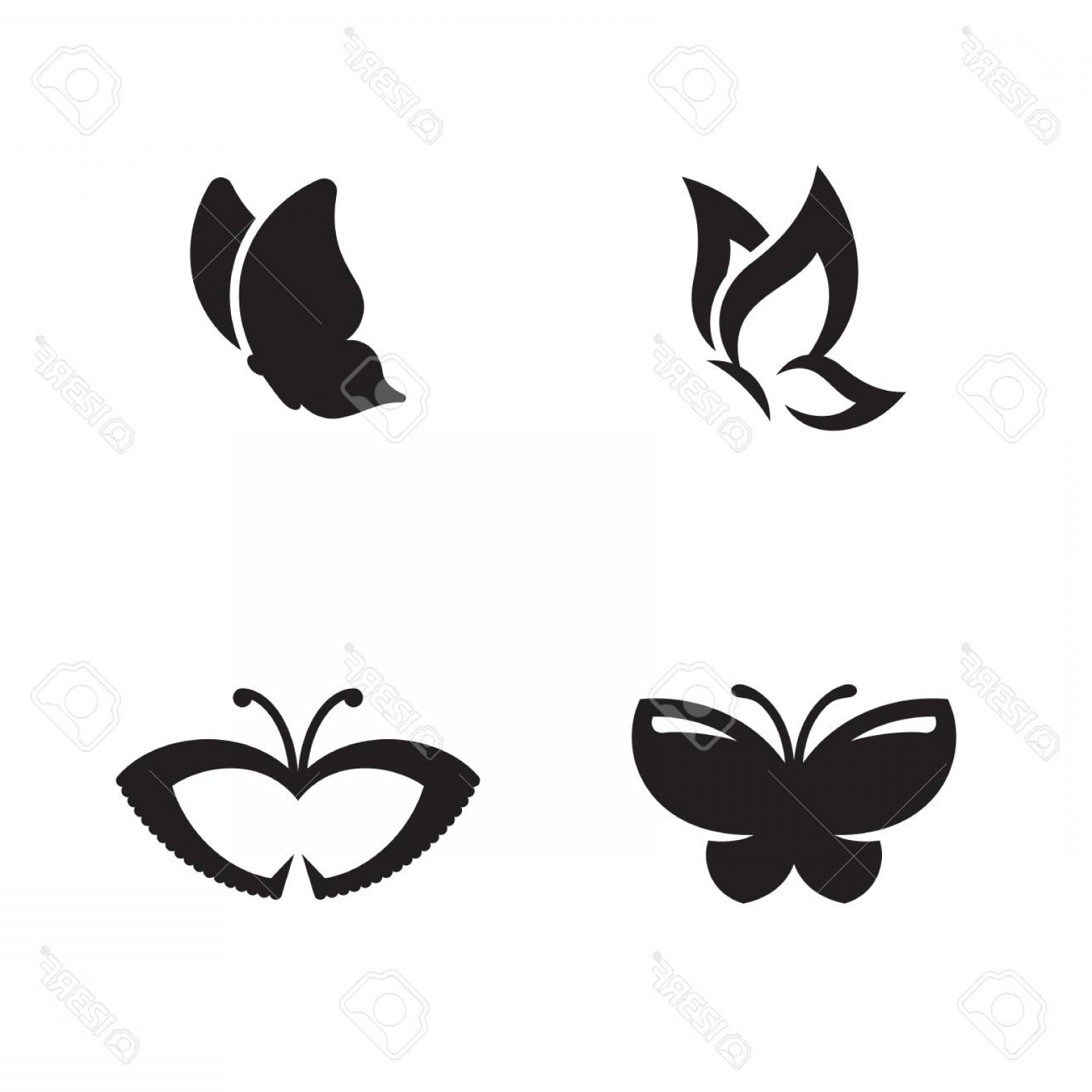 Butterfly Vector Logo: Photostock Vector Butterfly Vector Logo Black Icons On A White Background