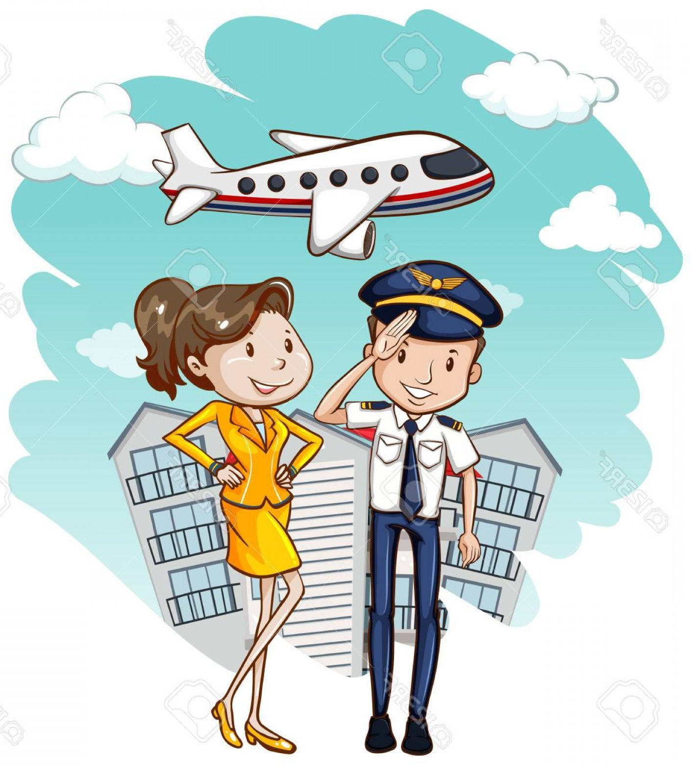 Vector Man Working In Cabin: Photostock Vector Cabin Crew Working In Airline Illustration