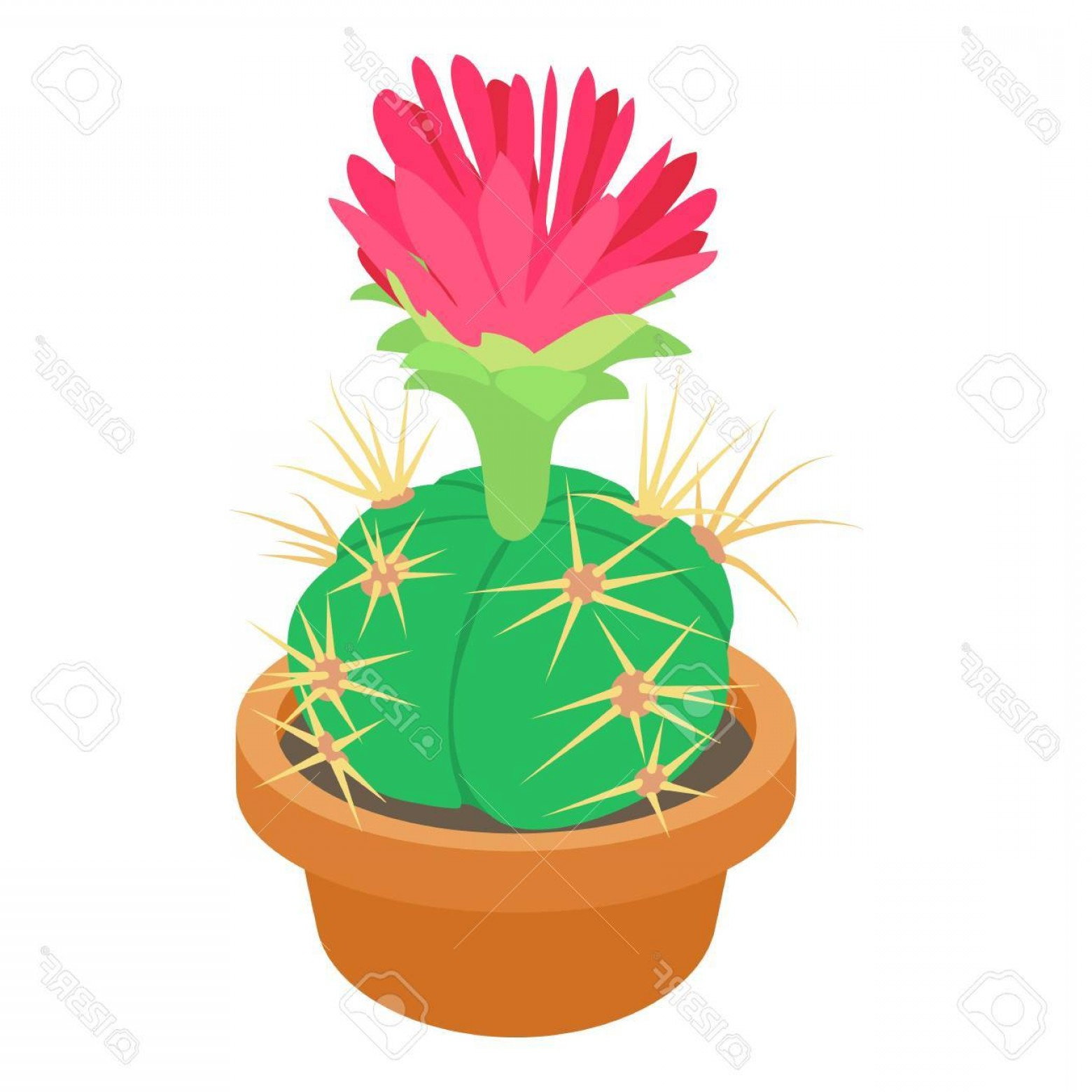 Cactus And Flower Vector: Photostock Vector Cactus With Red Flower Icon Cartoon Illustration Of Cactus With Red Flower Vector Icon For Web