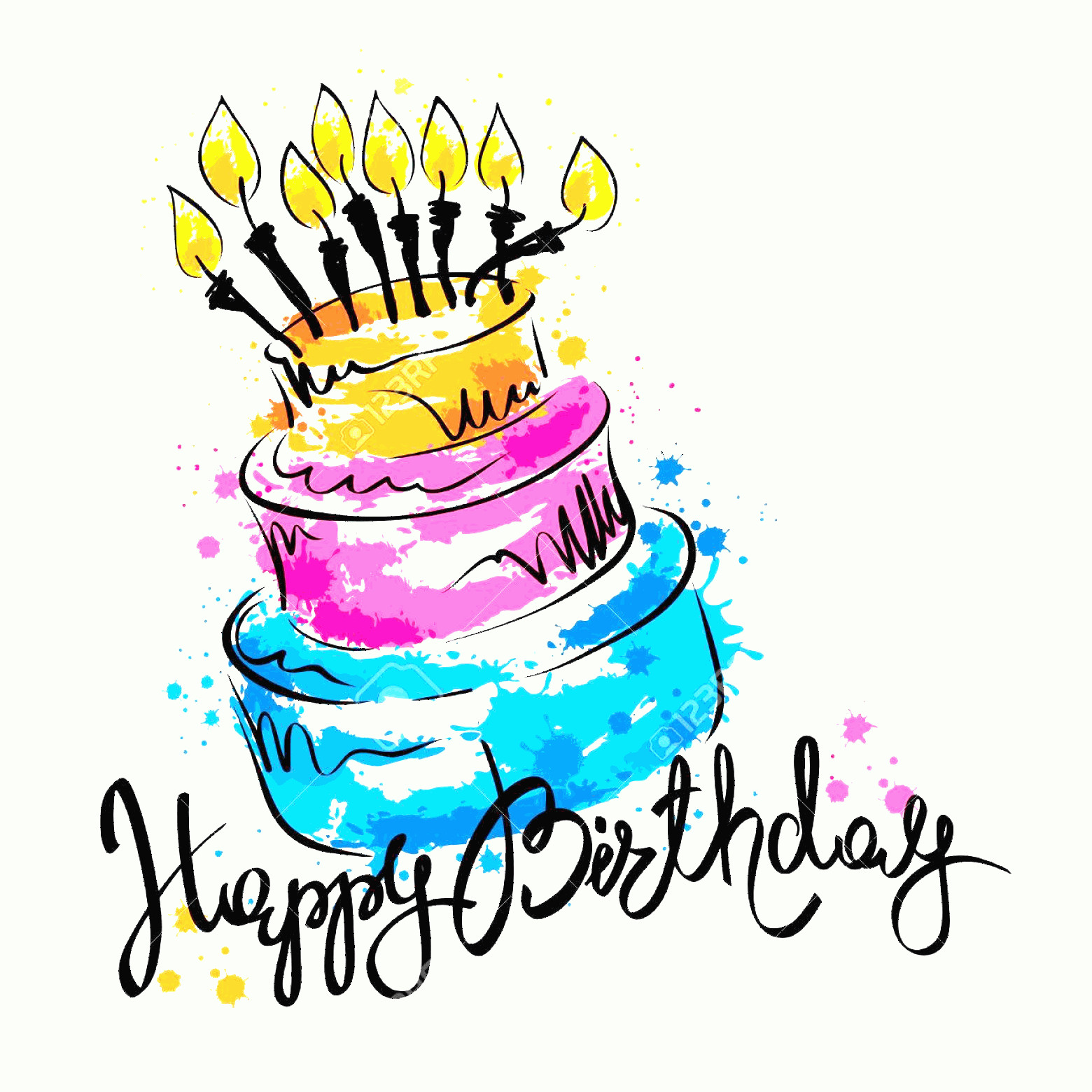 Vector Abstract Art Cake: Photostock Vector Cake Ans Happy Birthday Handwritten Vector Calligraphy With Abstract Cake