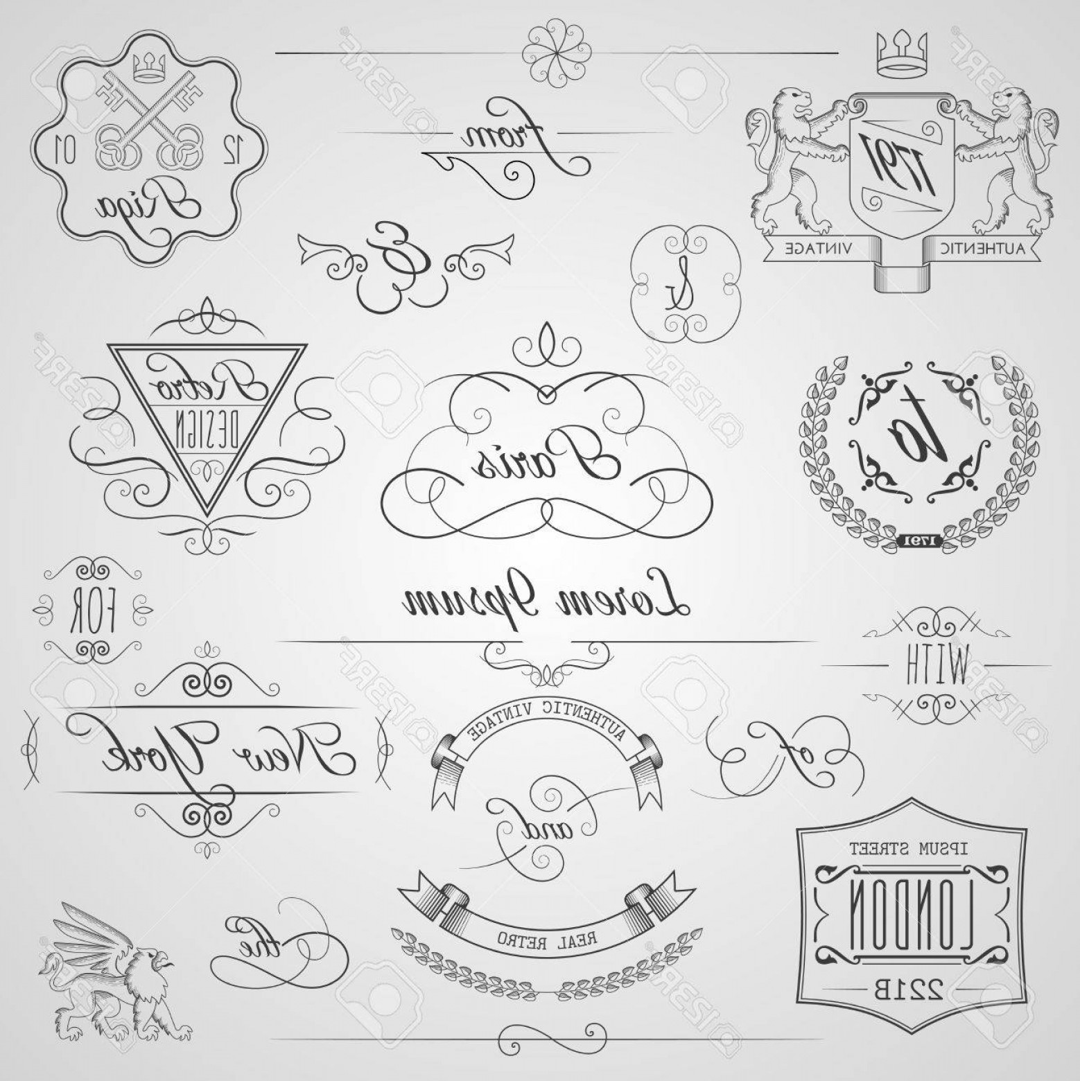 Vector Ornament Sets: Photostock Vector Calligraphic Design Elements And Classic Vignette Flourish Ornament Set Isolated Vector Illustration