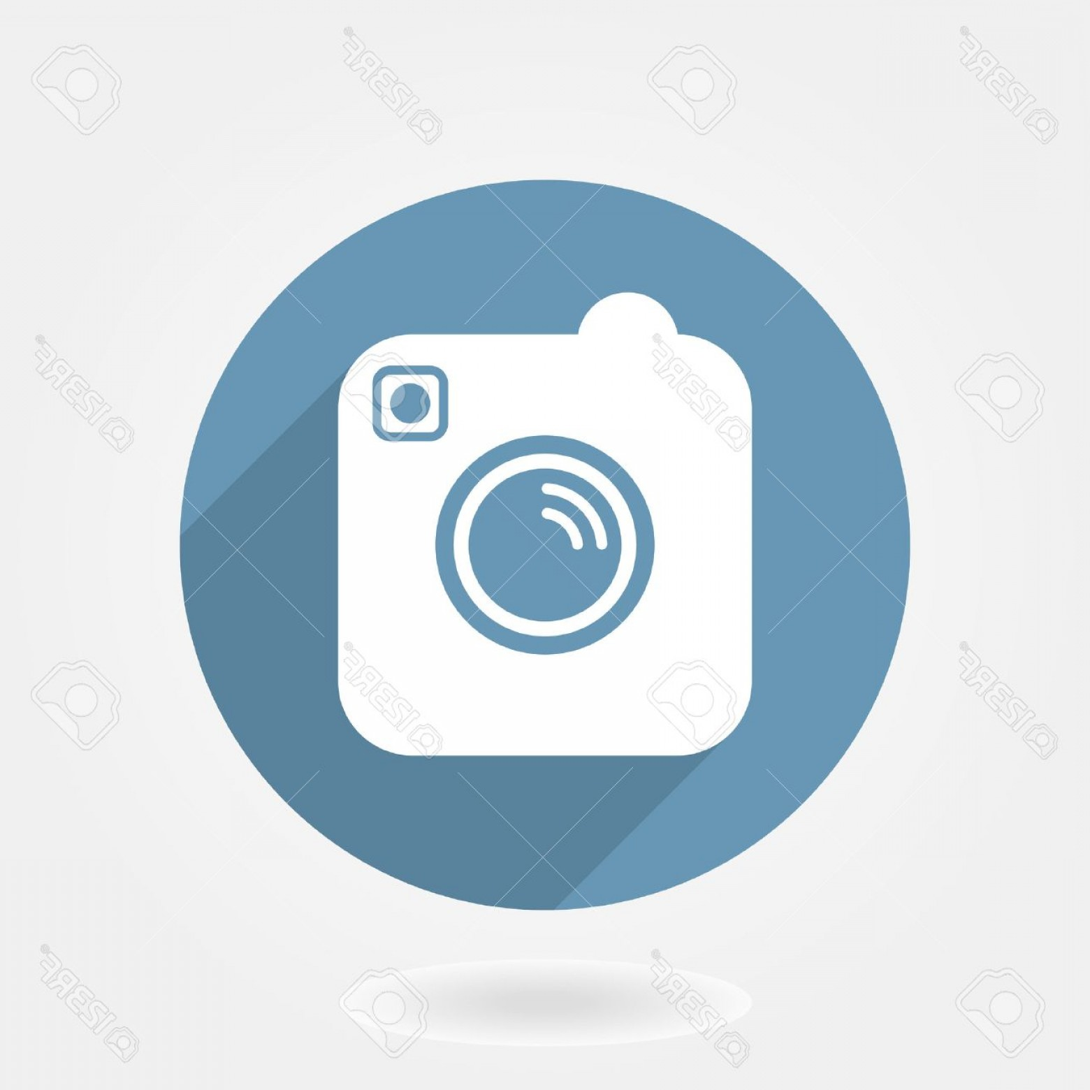 Instagram App Icon Vector: Photostock Vector Camera Like Instagram Icon With Flat Design In Blue Circle With Long Shaddow
