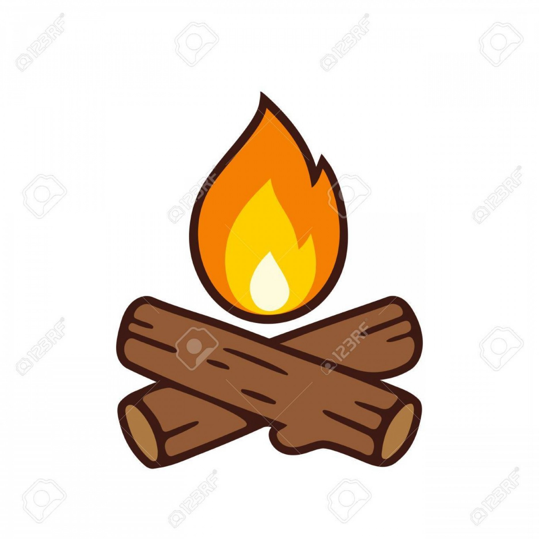 Cartoon Fire Flames Vector: Photostock Vector Campfire Vector Icon Illustration Isolated On White Crossed Logs And Fire Flame In Cartoon Style