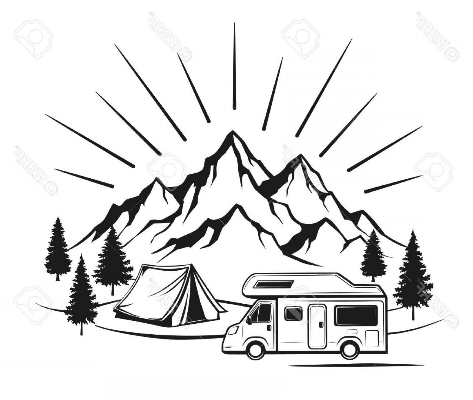 Rocky Mountain Line Art Vector: Photostock Vector Campsite With Camper Caravan Tent Rocky Mountains Pine Forest Family Vacation Outdoor Scene