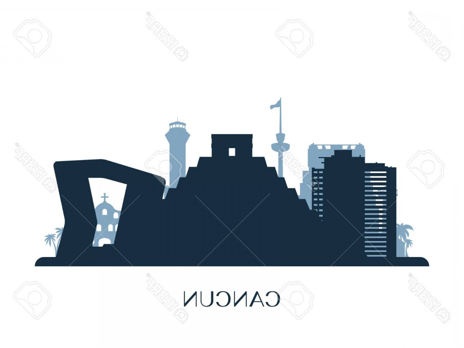 Wicked Boston Skyline Silhouette Vector: Photostock Vector Cancun Skyline Silhouette Vector Illustration