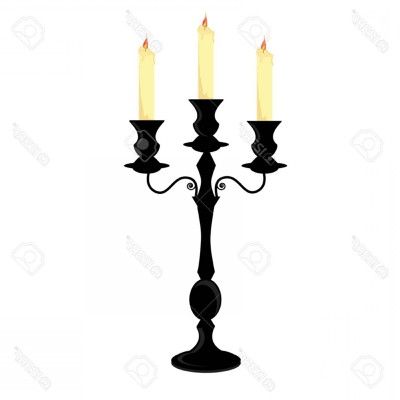 Candle Vector Black: Photostock Vector Candle Holder Black Candlestick With Three Burning Candles Vector