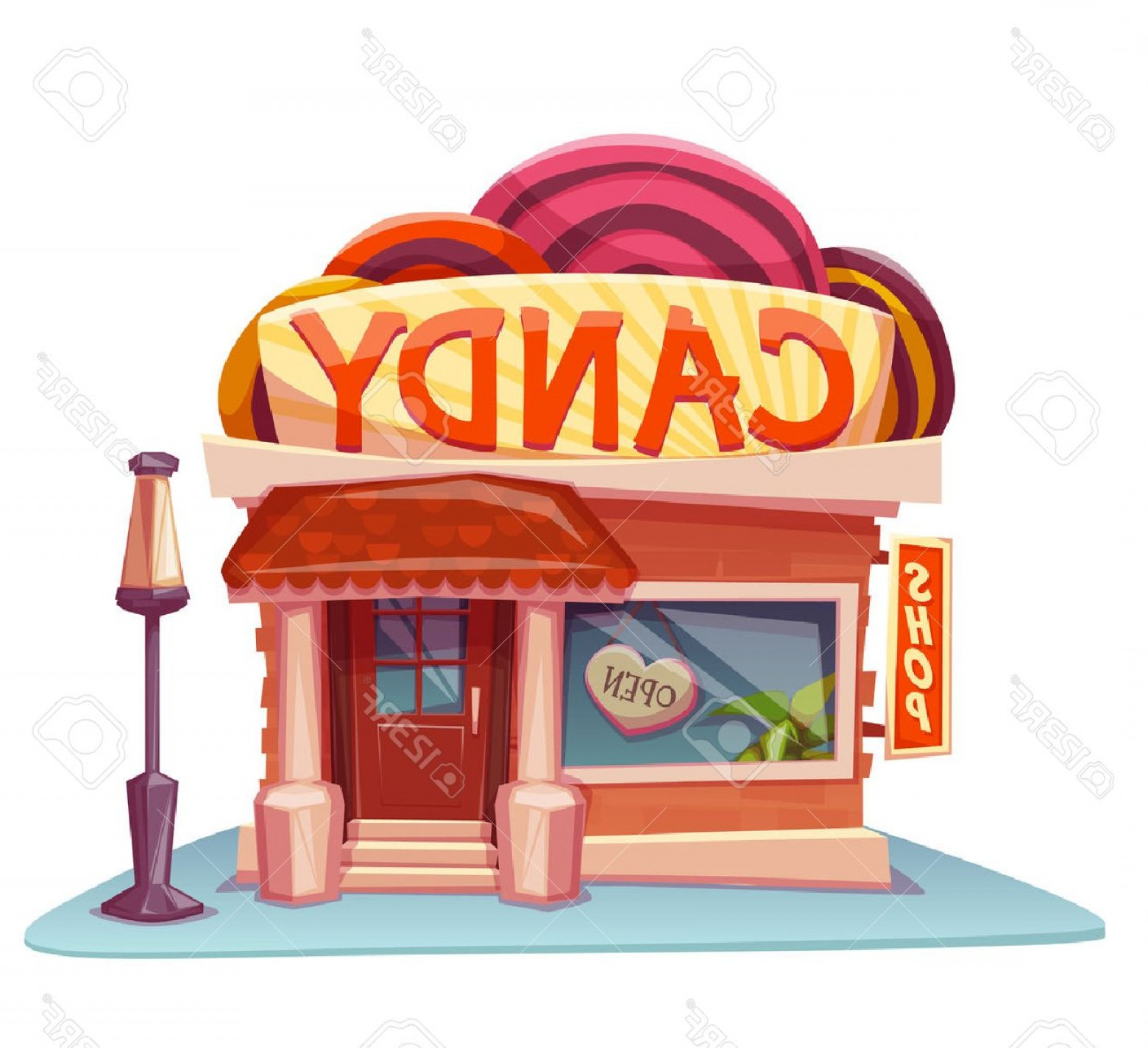 Candy Shop Vector: Photostock Vector Candy Shop Building With Bright Banner Vector Illustration