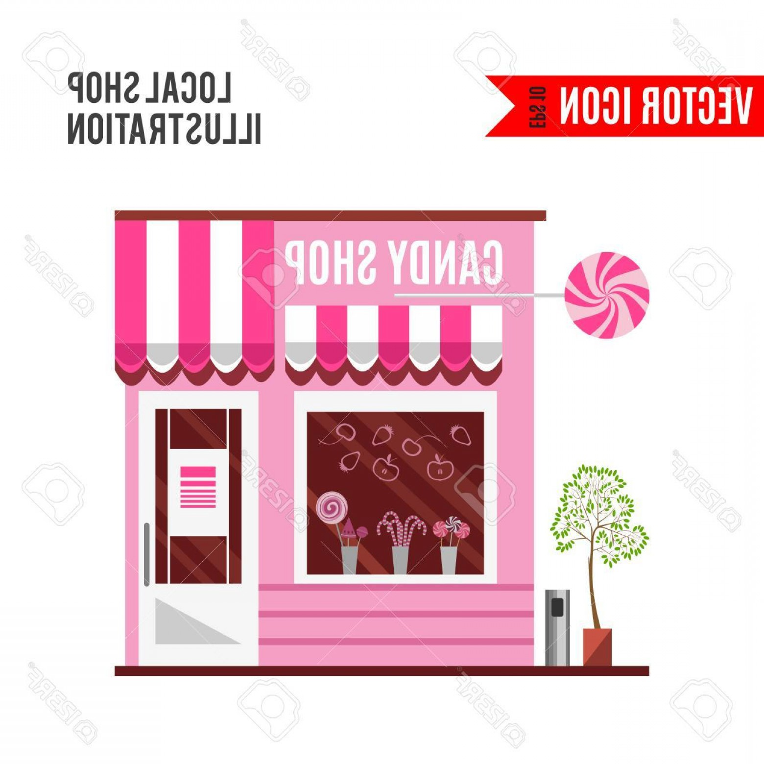 Candy Shop Vector: Photostock Vector Candy Shop In A Pink Color