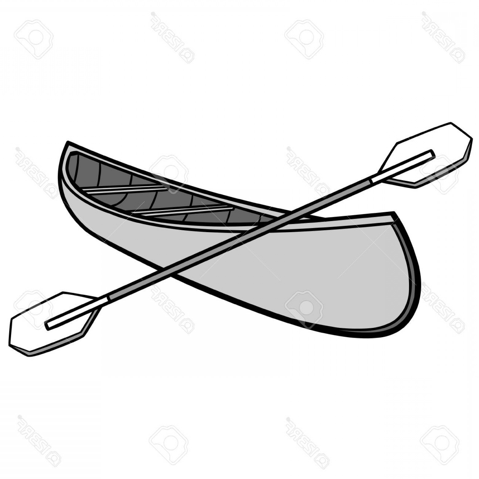 Canoe Vector: Photostock Vector Canoe And Paddles Illustration A Vector Cartoon Illustration Of A Campground Canoe And Paddles
