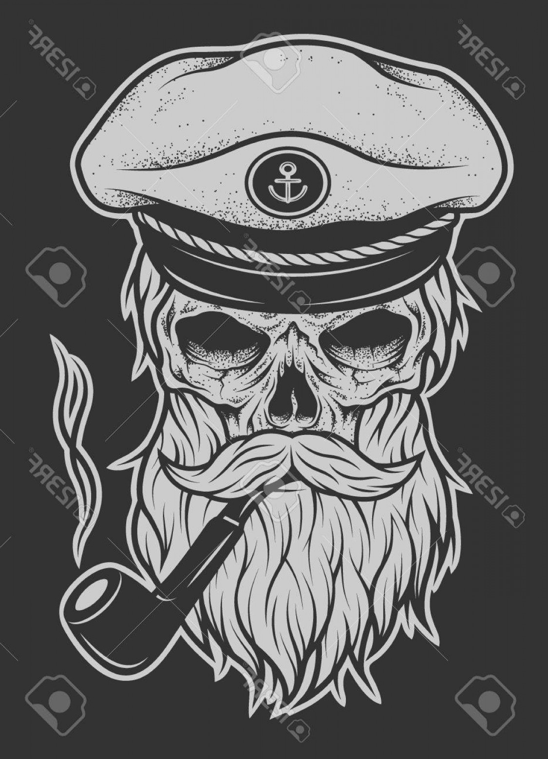 Fear The Beard Vector: Photostock Vector Captain Skull In A Hat With A Beard And A Tobacco Pipe Vector Illustration
