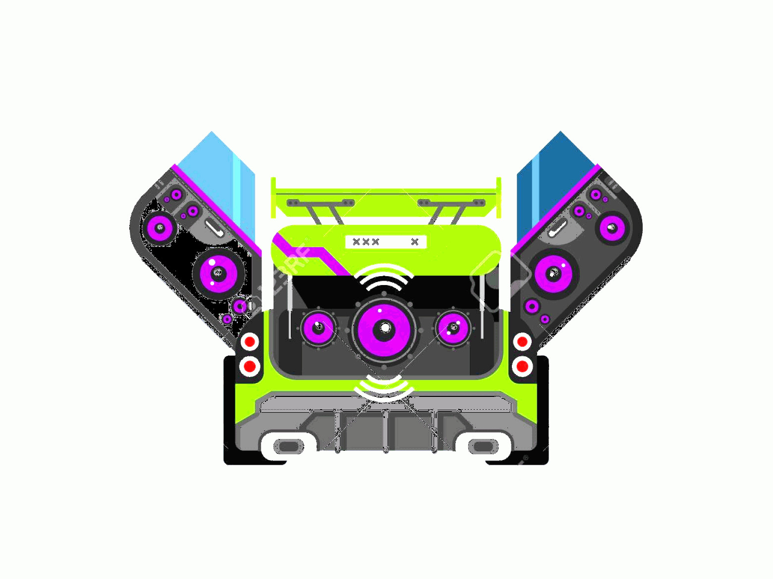 Car Audio Vector: Photostock Vector Car Audio System Music Automobile Sound Technology Stereo Power Speaker Flat Vector Illustration