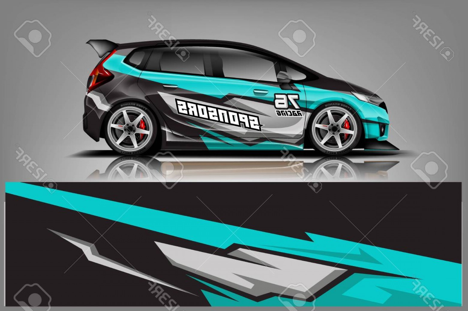 Vector Car Wrapped: Photostock Vector Car Decal Wrap Design Vector Graphic Abstract Stripe Racing Background Kit Designs For Vehicle Race