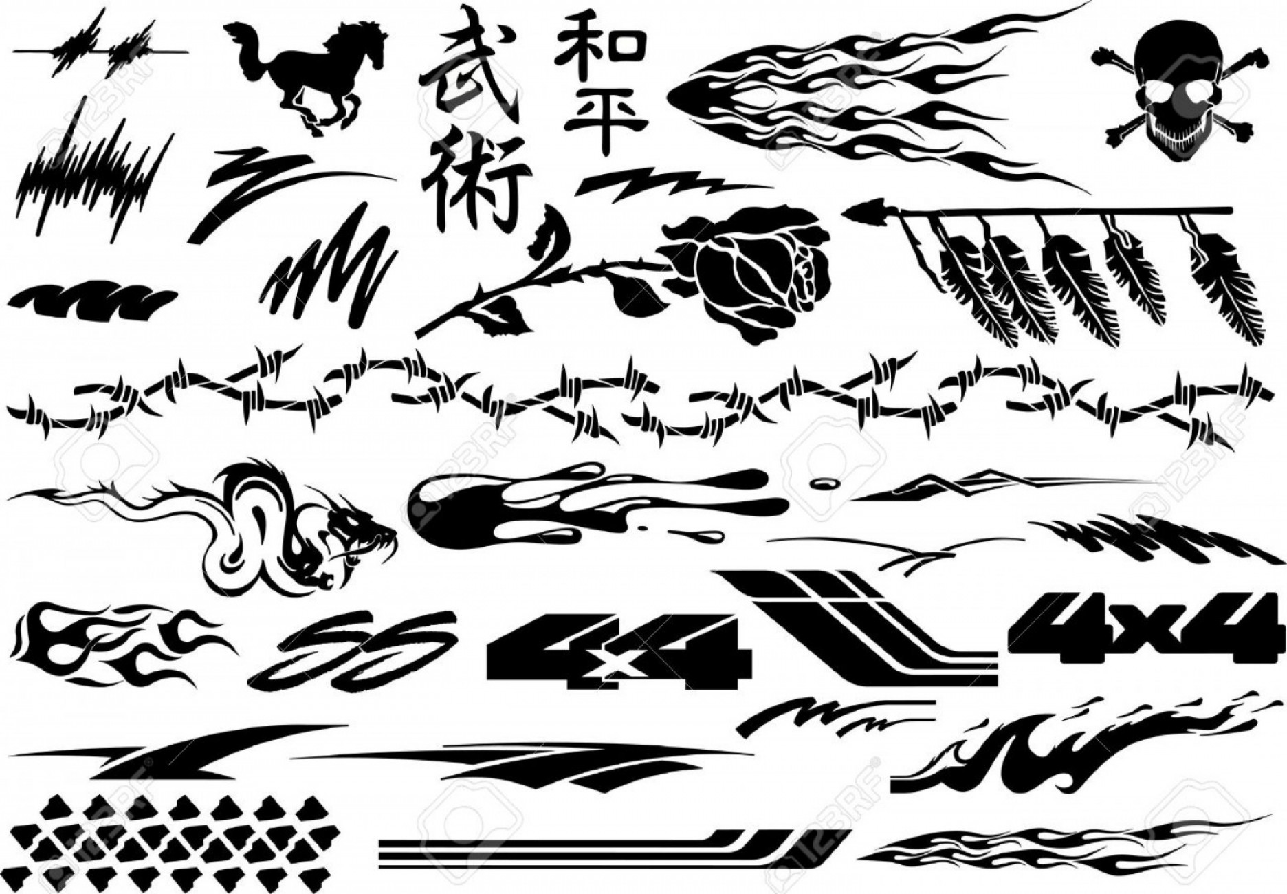 Black And White Vector Racing Graphics: Photostock Vector Car Motorcycle Racing Vehicle Graphics Vinyls Decals