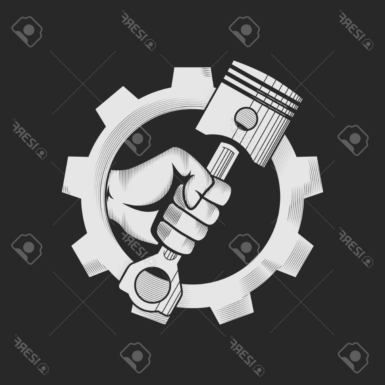 Workshop Icon Vector: Photostock Vector Car Or Bike Workshop Logo Template Concept Car Engine Pistons In The Hand And Gear Combined In Vecto
