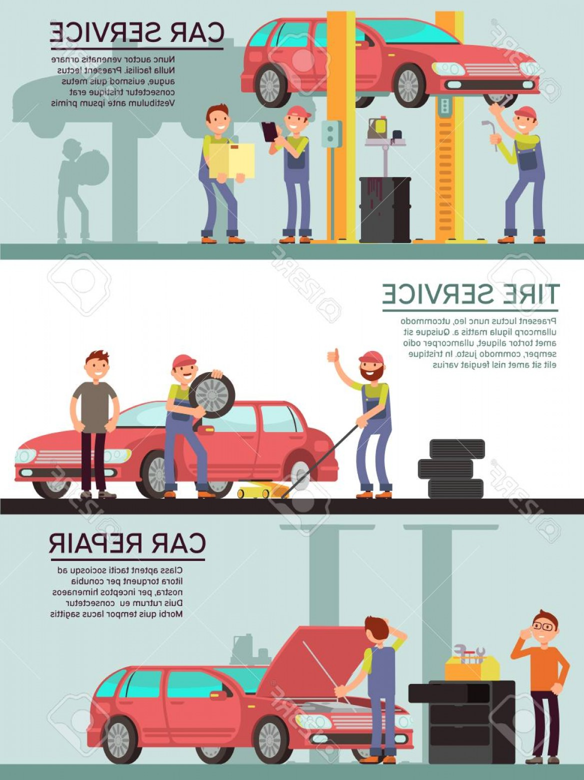 Vector Marketing.com: Photostock Vector Car Services And Auto Garag Vector Marketing Banners With Cartoon Mechanic Worker Car Service And Ti