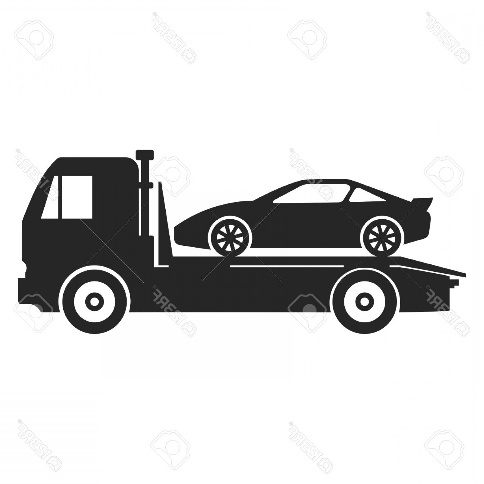 Towing Vector Clip Art: Photostock Vector Car Towing Truck Icon