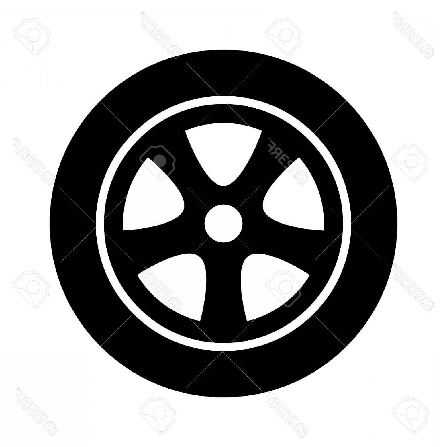 Tire Icon Vector: Photostock Vector Car Vehicle Or Automobile Tire Alloy Wheel With Rim Flat Vector Icon For Apps And Websites