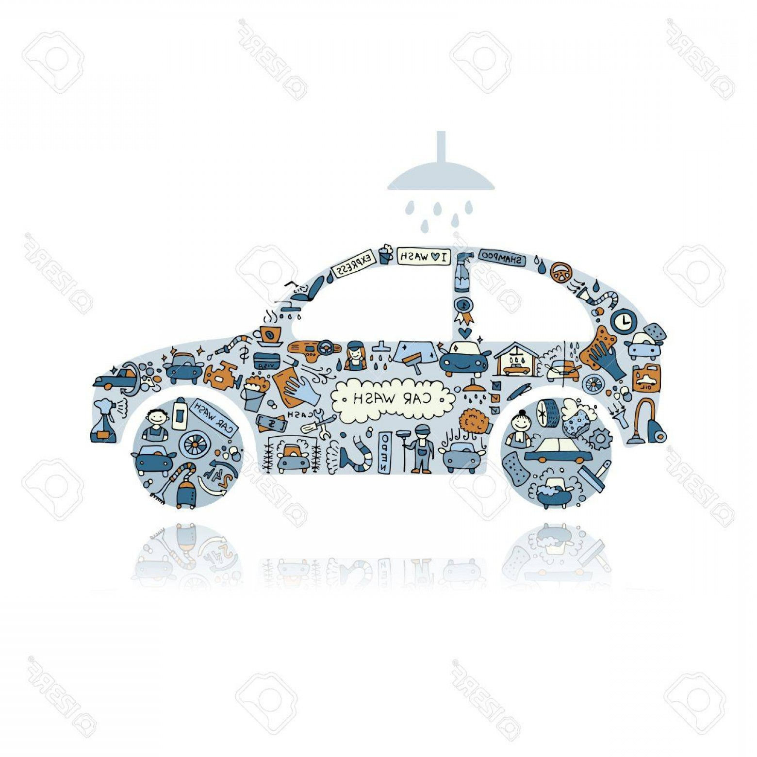 Car Wash Vector Graphics: Photostock Vector Car Washing Vector Icons Sketch For Your Design