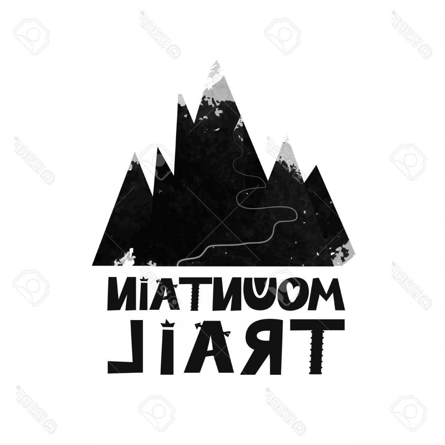 Mountain Trail Vector: Photostock Vector Card Mountain Trail To The Top Black And White Scandinavian Style Illustrations Design For Textile W