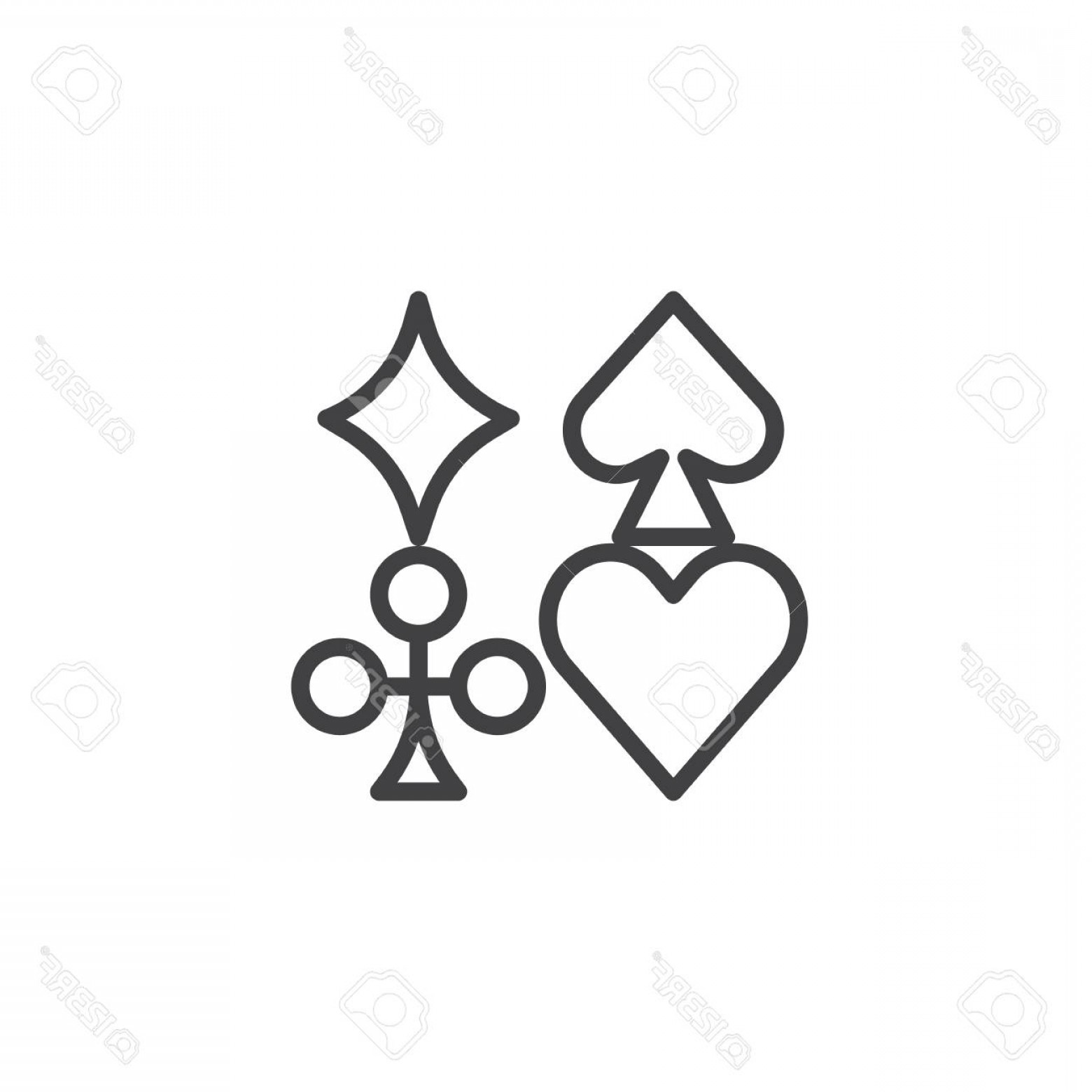 Card Suits Vector Outlines: Photostock Vector Card Suits Line Icon Outline Vector Sign Linear Style Pictogram Isolated On White Playing Card Symbo