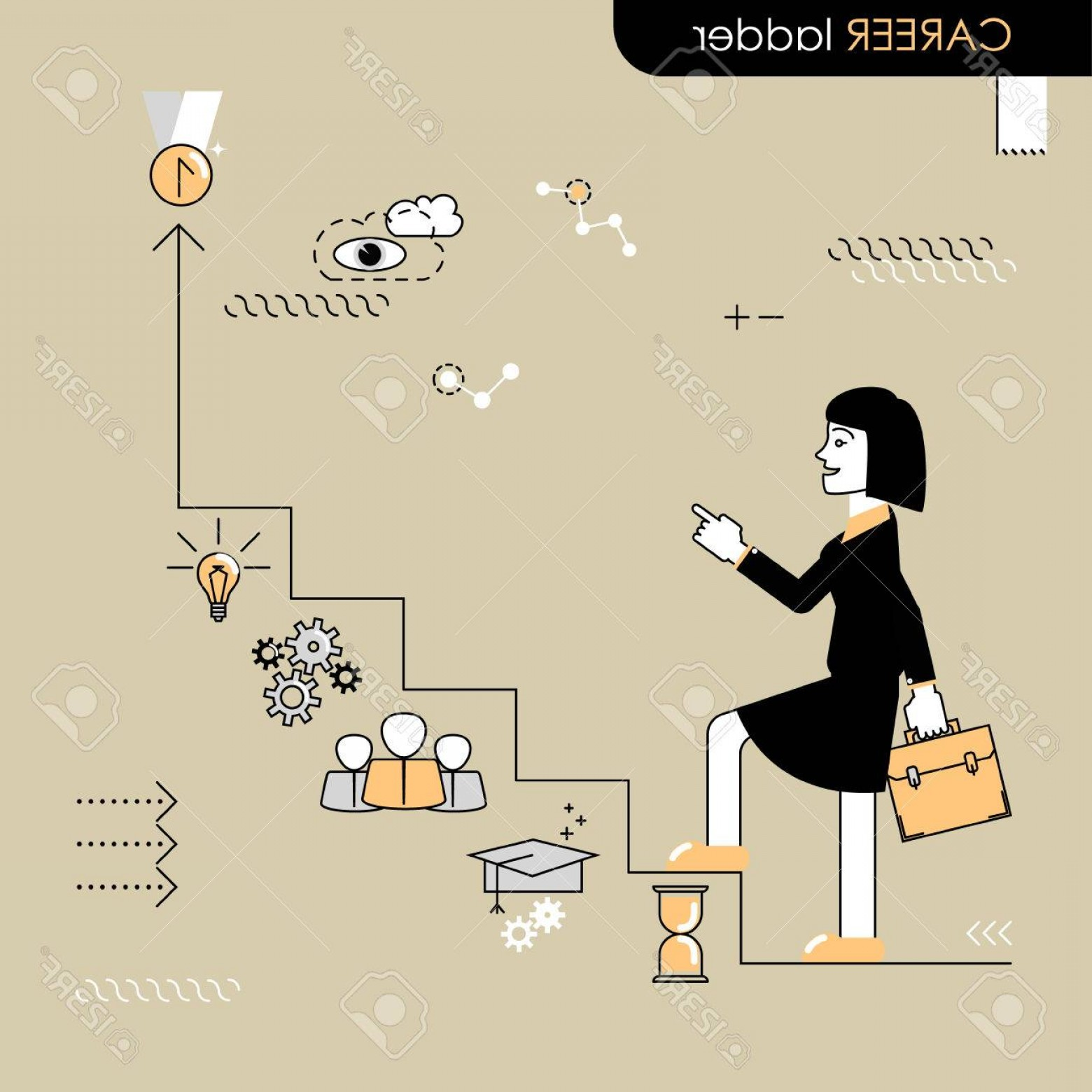 Vector Career Ladder: Photostock Vector Career Ladder Business Woman Walking On The Career Ladder Vector Flat Line