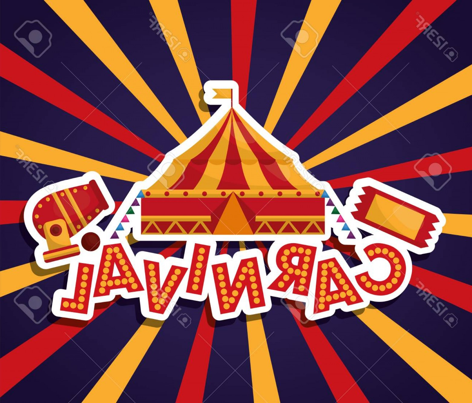 Circus Background Vector: Photostock Vector Carnival Circus Canon Tent Ticket Sunburst Background Vector Illustration