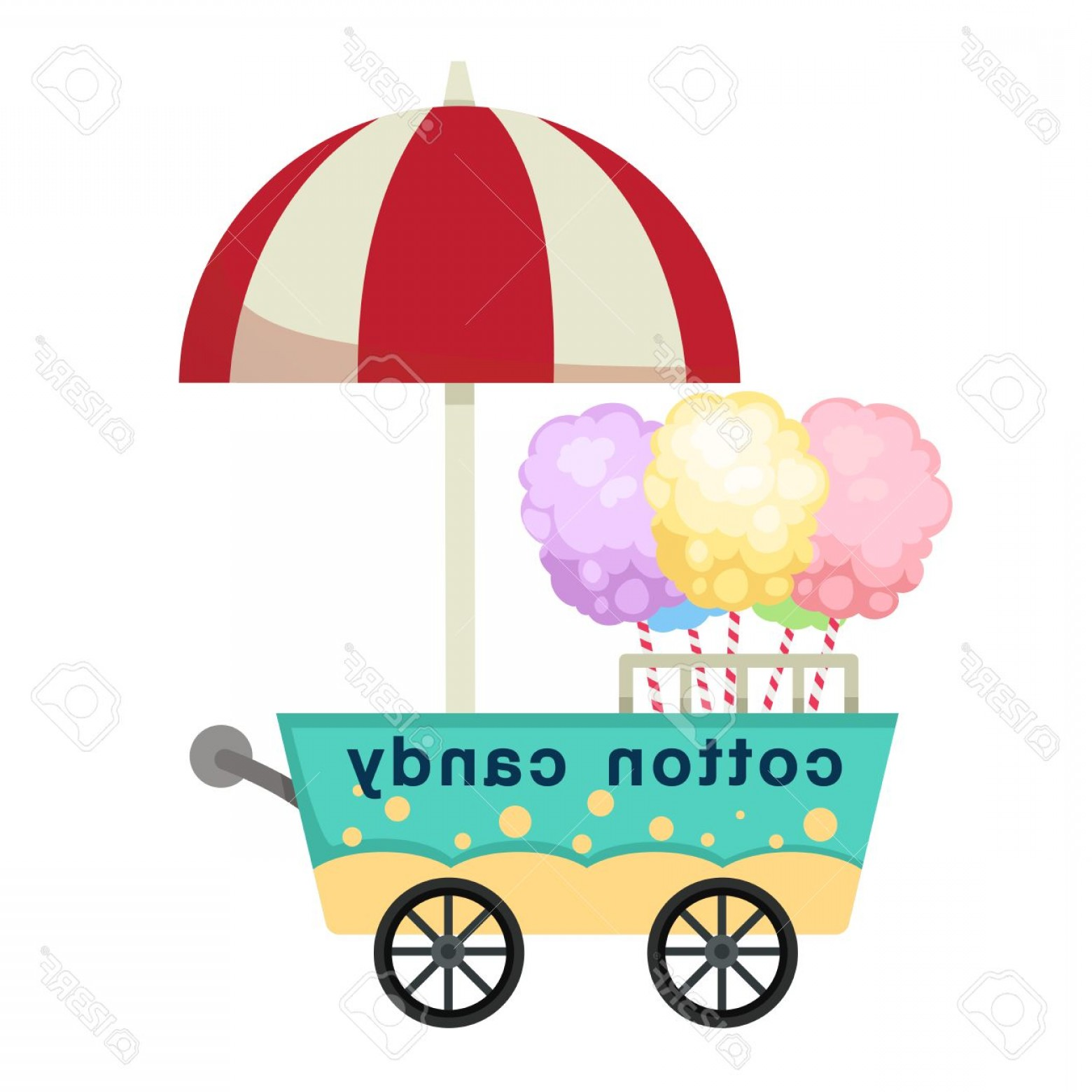 Candy Seller Vector: Photostock Vector Cart Stall And Cotton Candy Vector Illustration On White Background