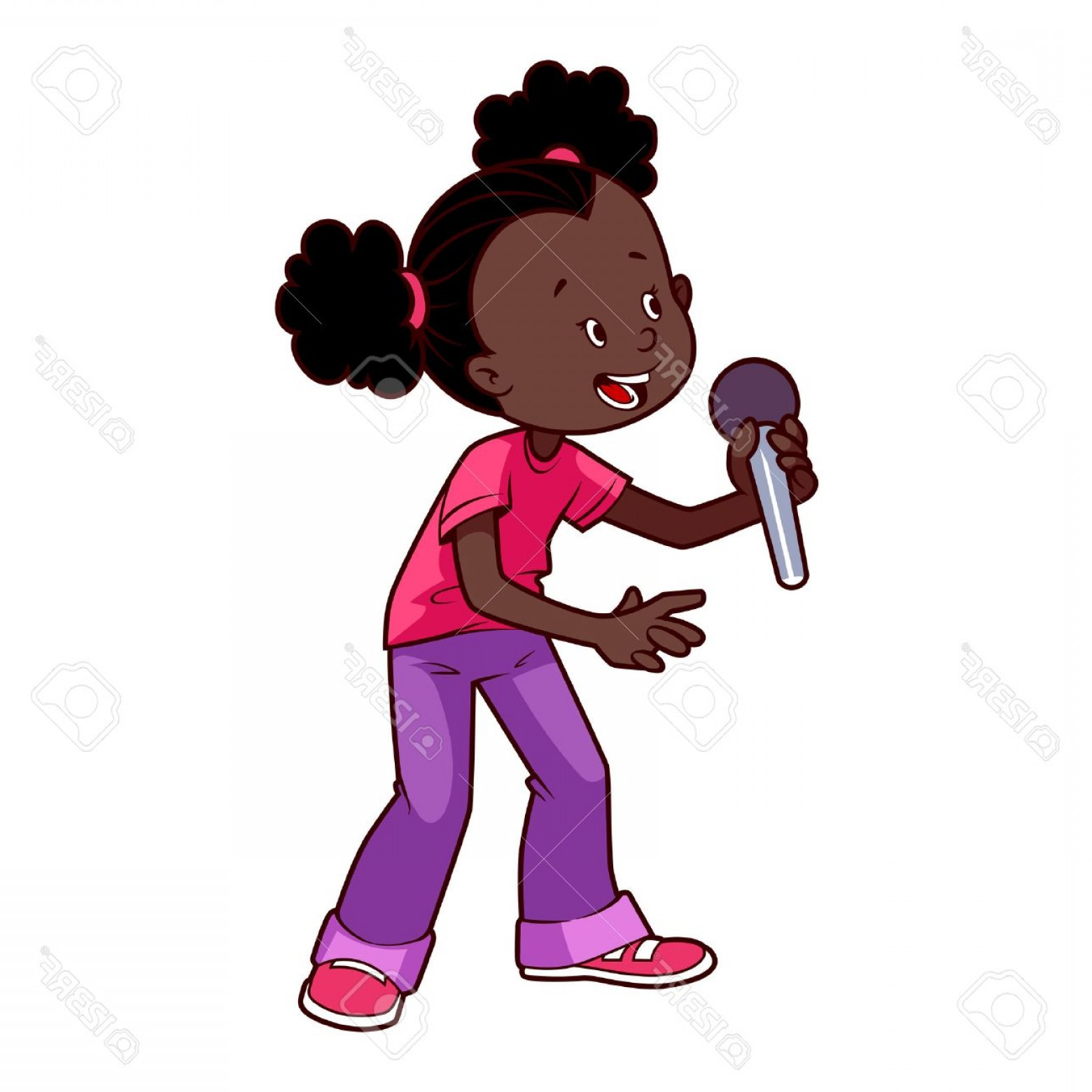 Singing Girls Vector Art: Photostock Vector Cartoon African American Girl Singing With A Microphone Vector Clip Art Illustration On A White Back