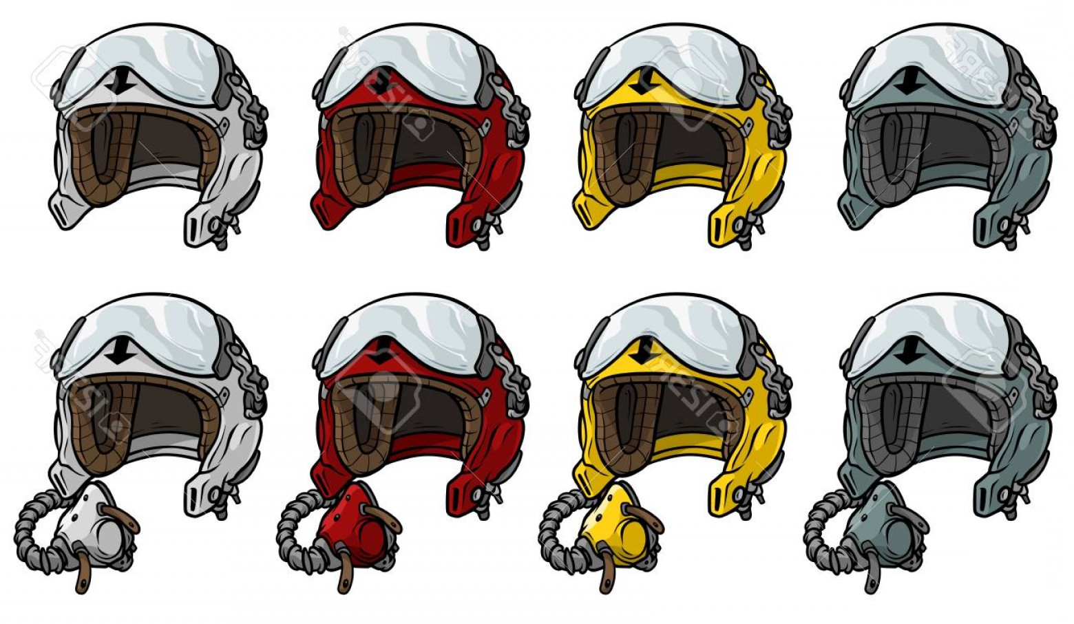 Fighter Helmet Vectors: Photostock Vector Cartoon Aviator Pilot Helmet Vector Icon Set