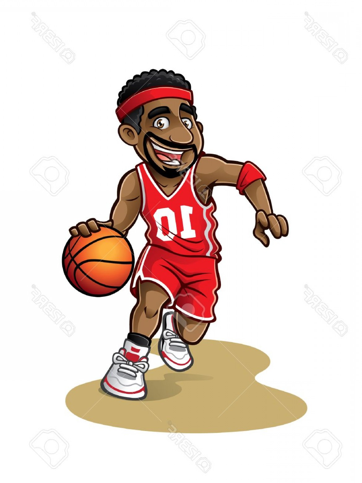 Cartoon Basketball Vector: Photostock Vector Cartoon Basketball Player Is Moving Dribble With A Smile